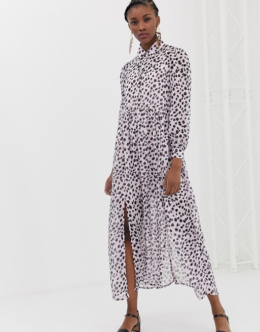 spring bridal shower dress dalmation print long-sleeve maxi