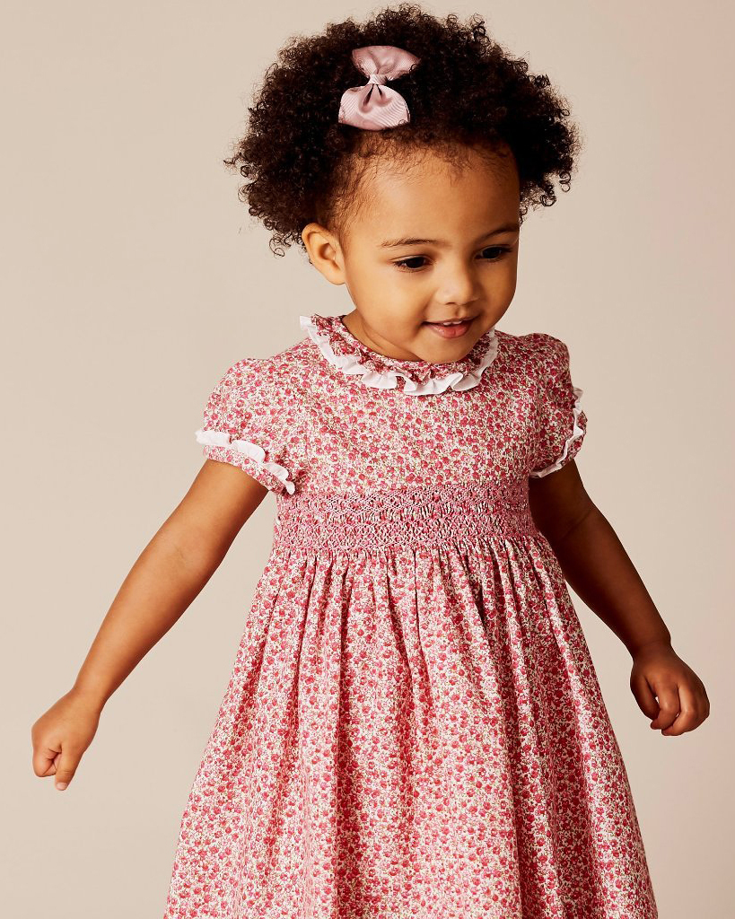 summer flower girl outfit pink and red patterned dress