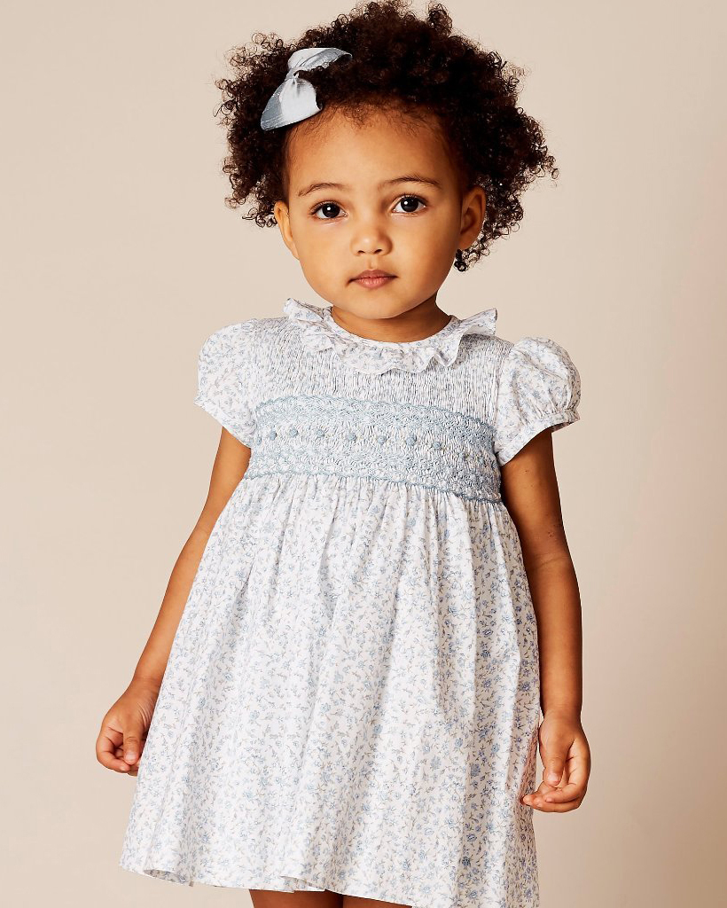 summer flower girl outfit blue patterned dress