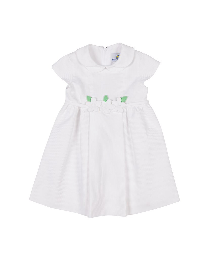 summer flower girl outfit white collared dress