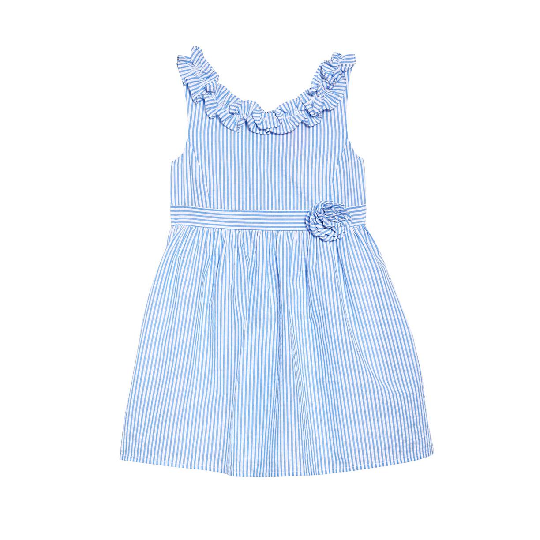 summer flower girl outfit blue striped dress