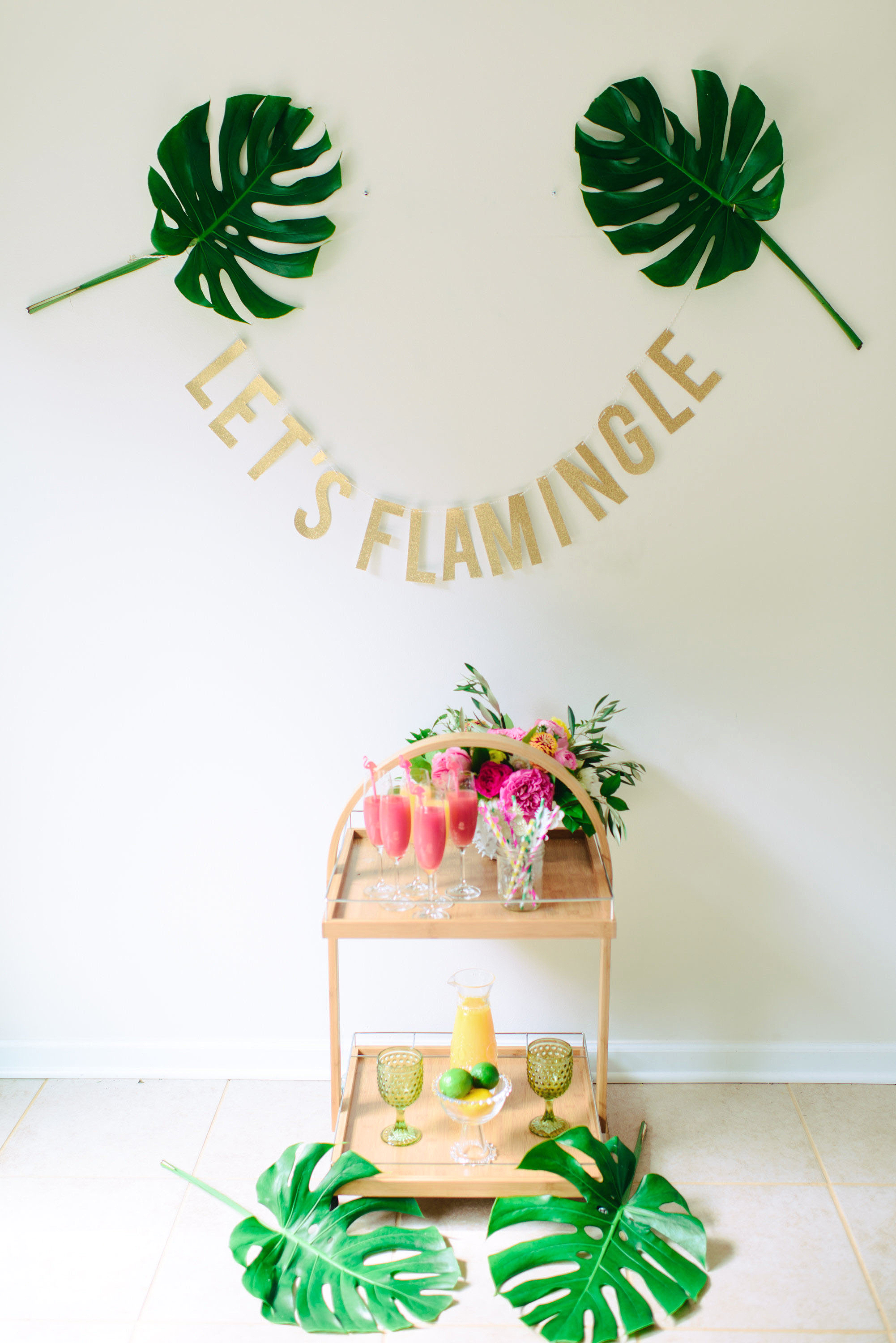 bar cart garland bachelorette party