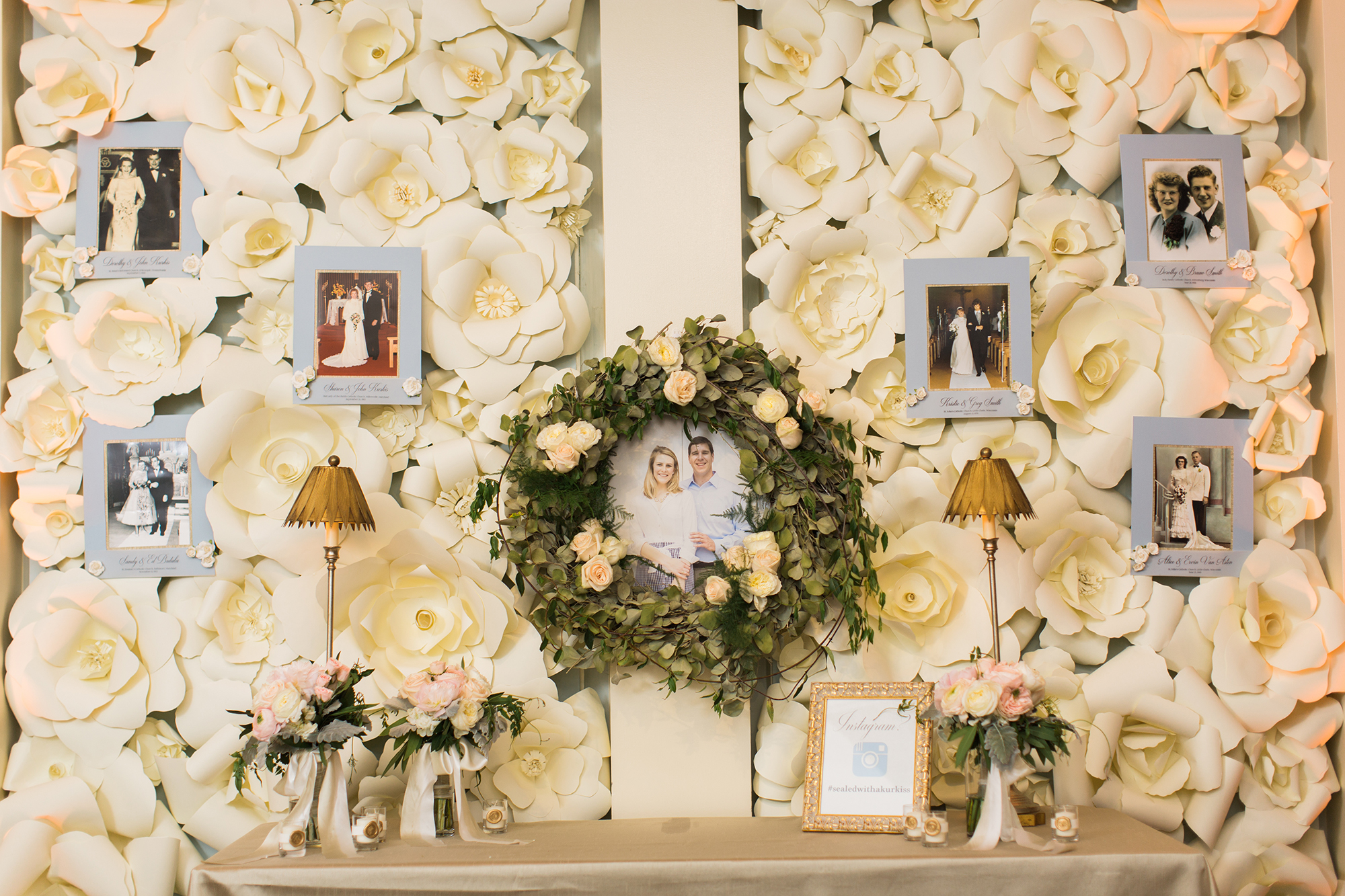 family photo flower wall display