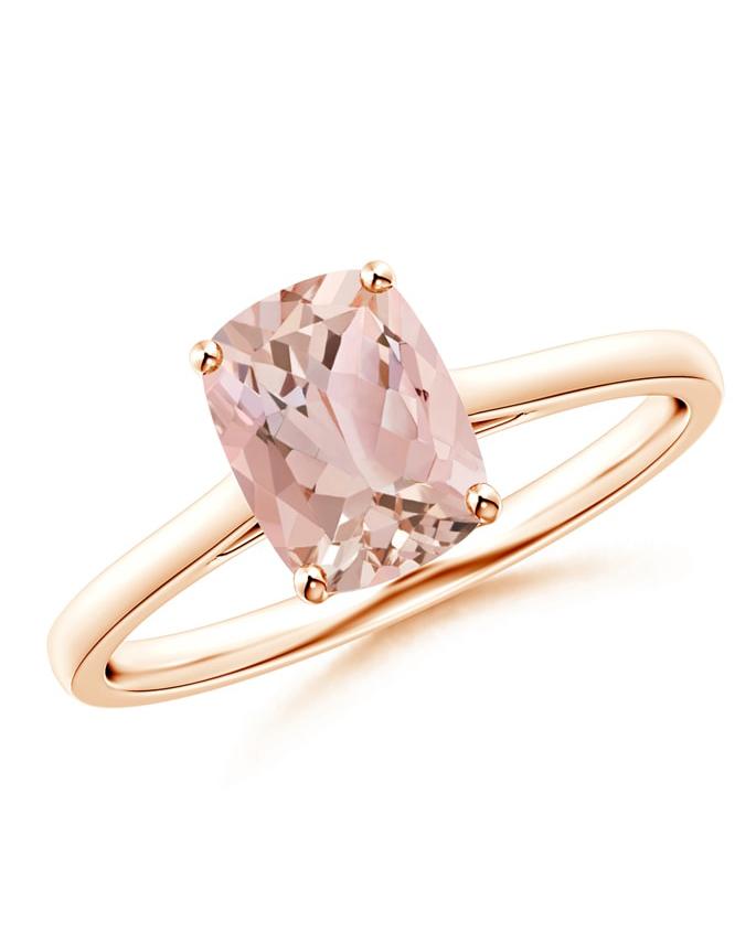 Angara Prong-Set Cushion Morganite Solitaire Ring
