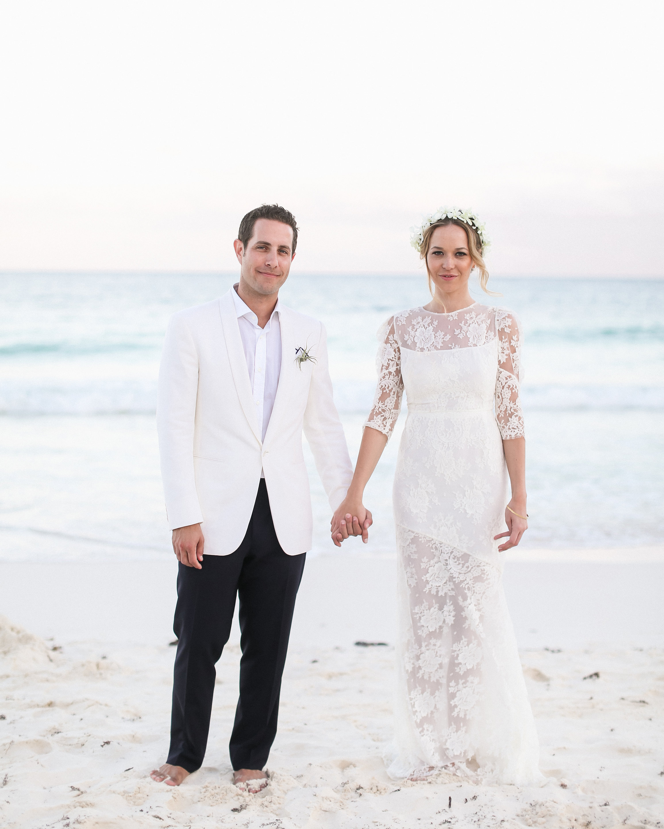 Beach Wedding Dress With Lace Sleeves