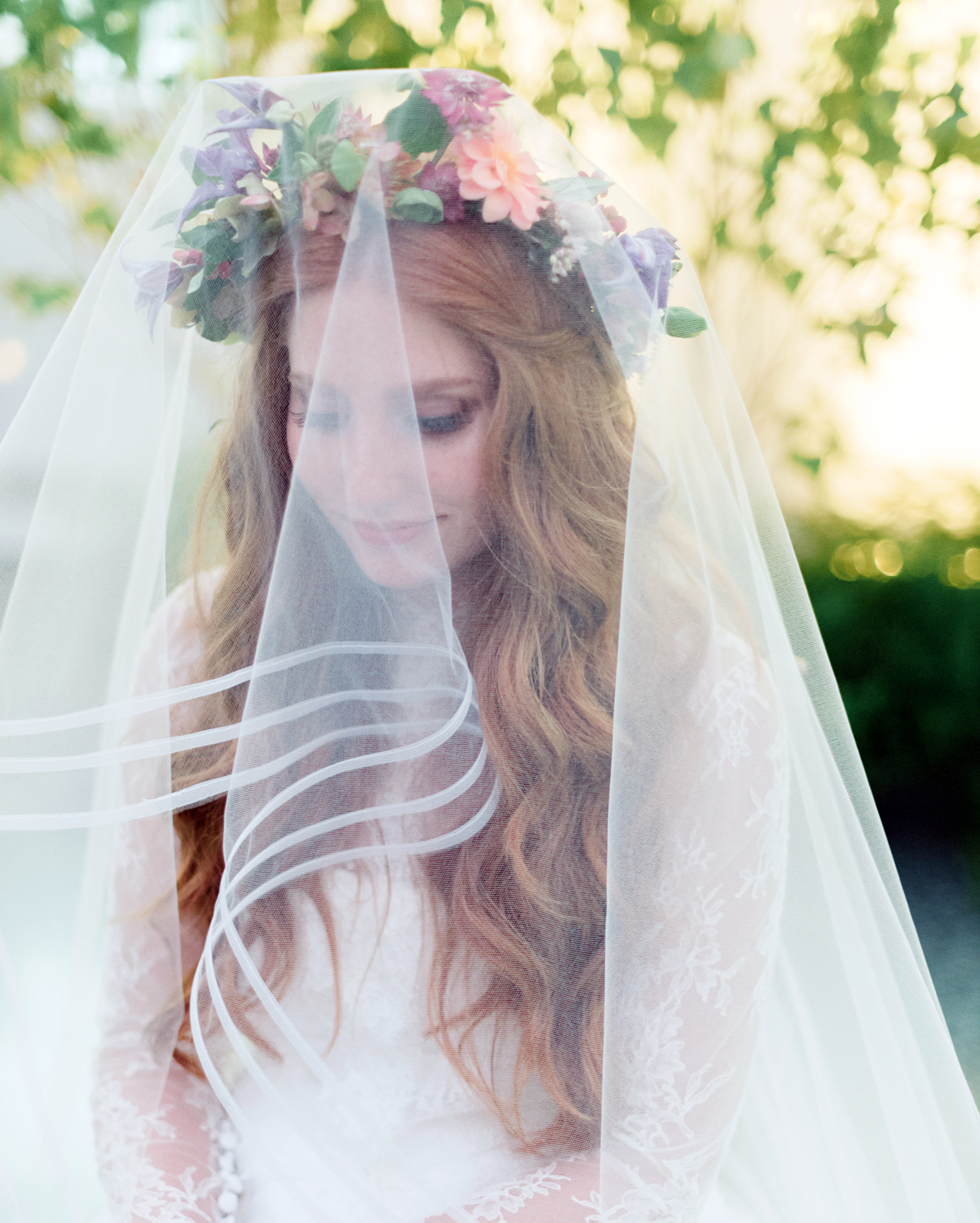 Loose Waves With Flower Crown and Veil