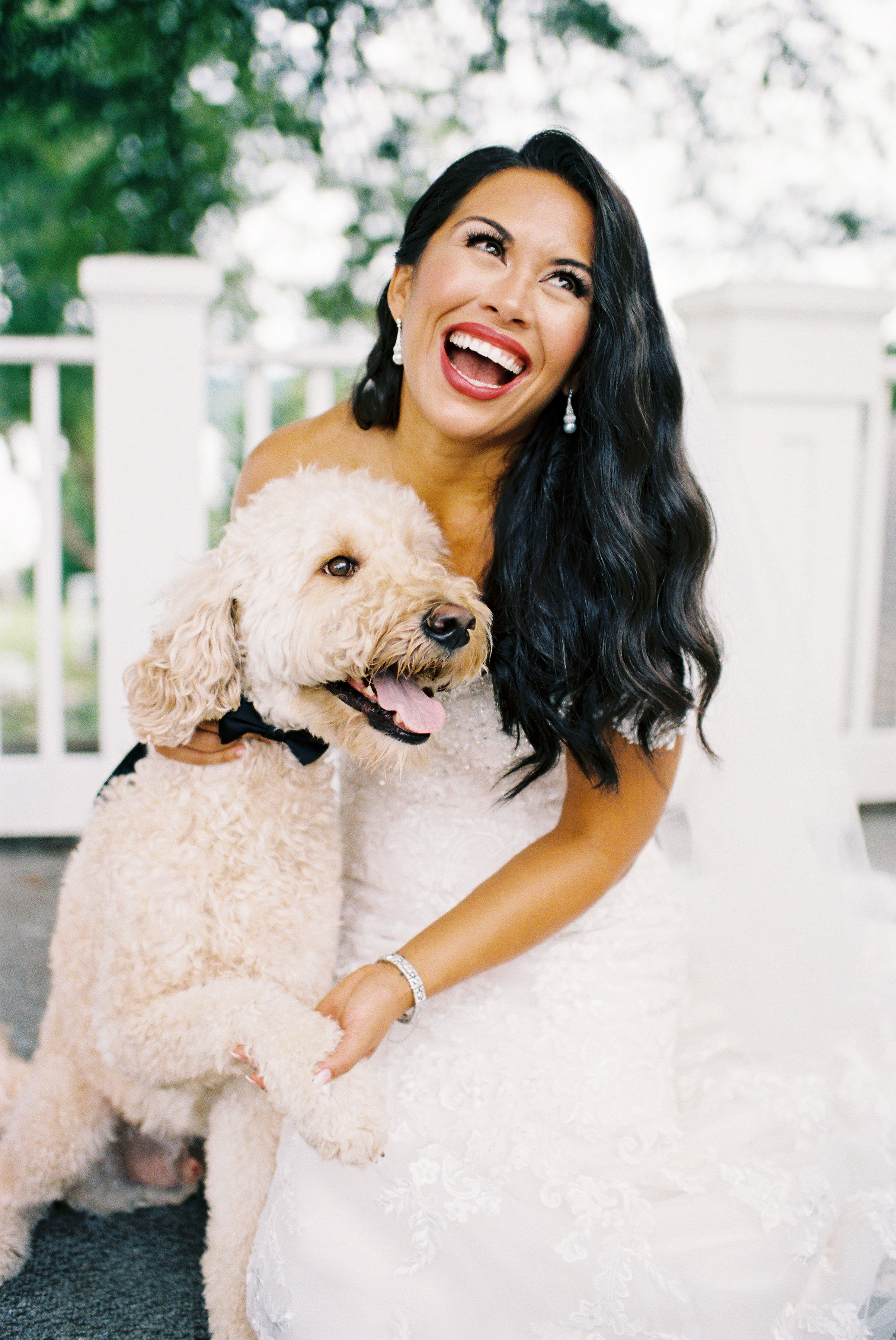 bold lipstick bride with puppy
