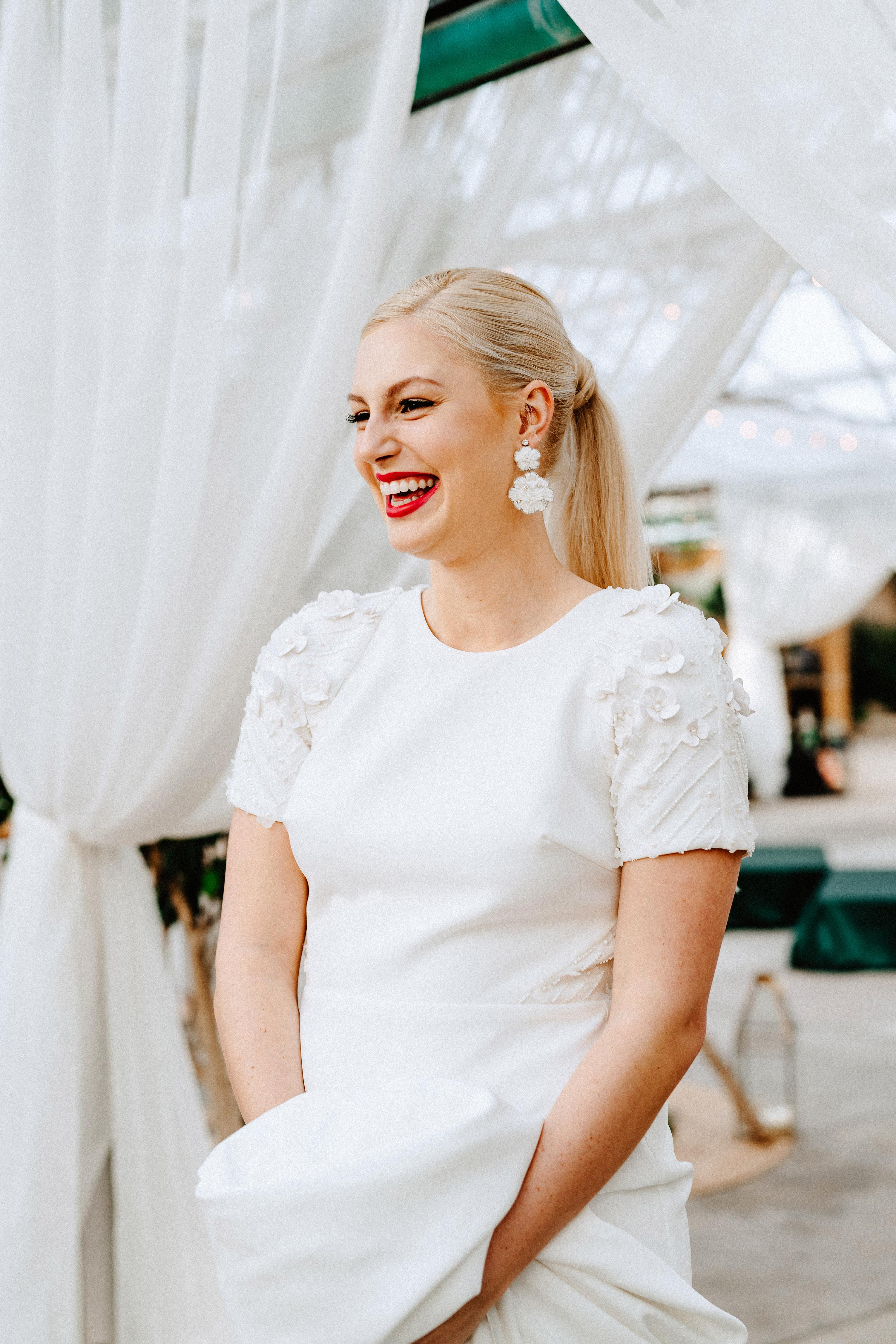 bold lipstick retro bride smiling