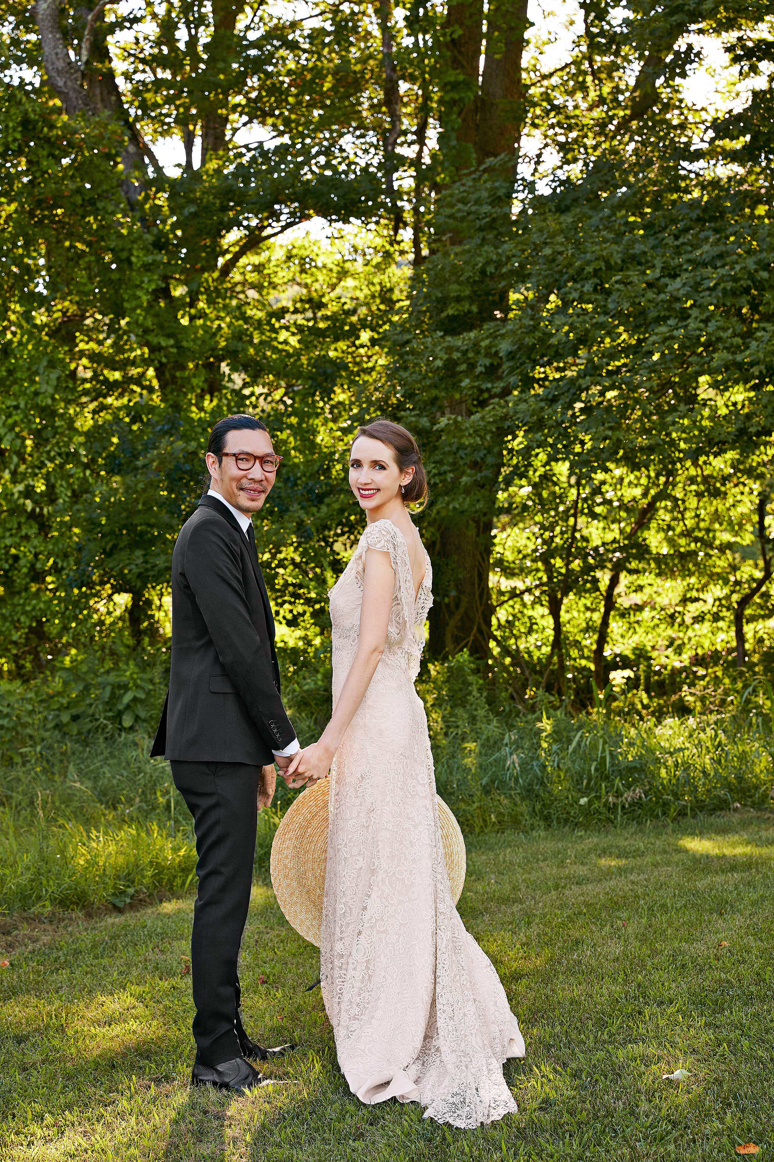avril quy wedding new york couple trees green