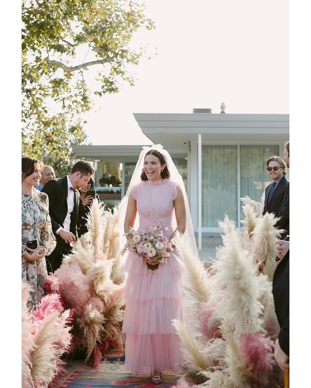 mandy moore pink wedding dress