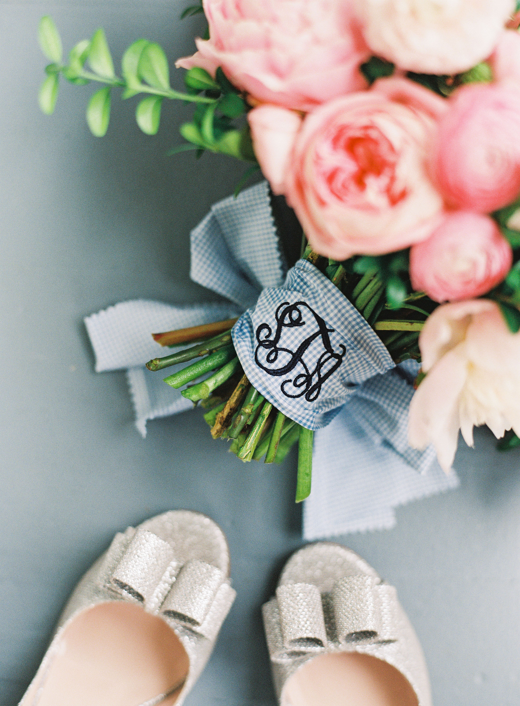 something blue monogramed bouquet wrap