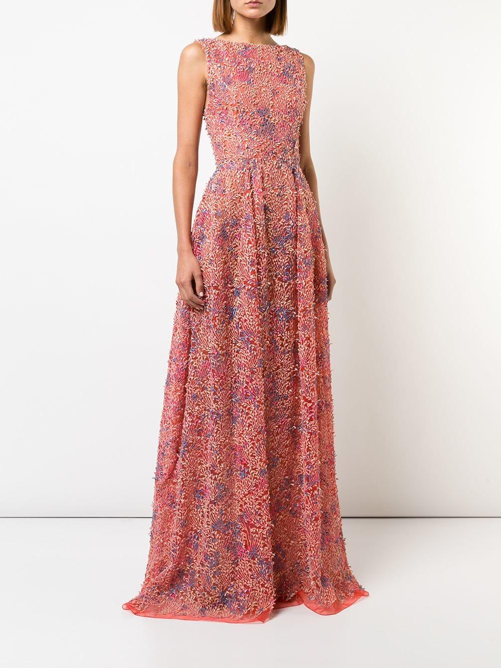 carolina herrera pink floral maxi dress