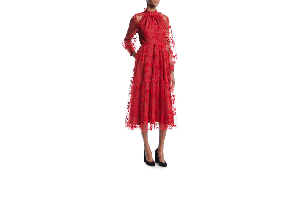 co long sleeve floral embroidered tulle midi cocktail dress