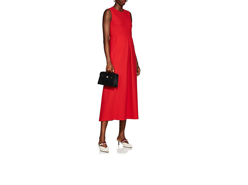 lisa perry red wool crepe sheath midi dress