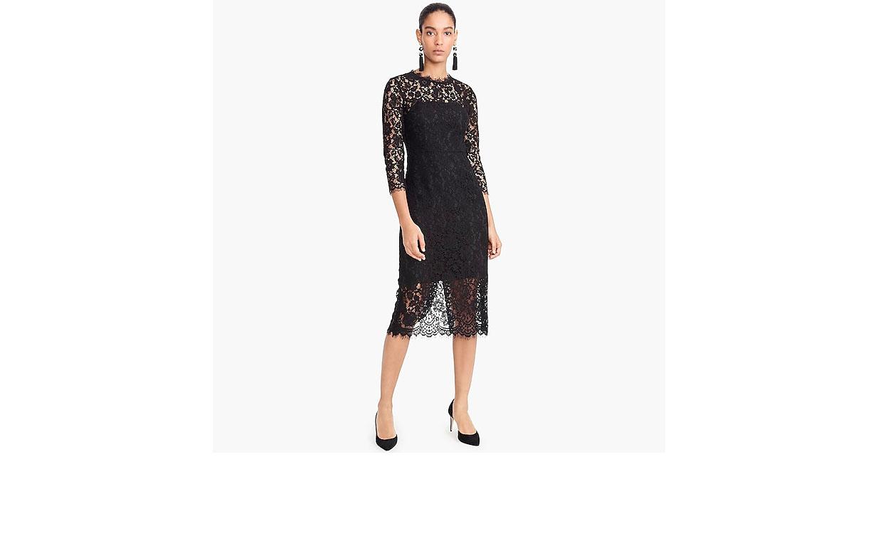 j crew black long sleeve lace sheath dress
