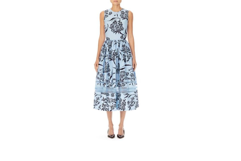 carolina herrera cotton floral sleeveless dress baby blue