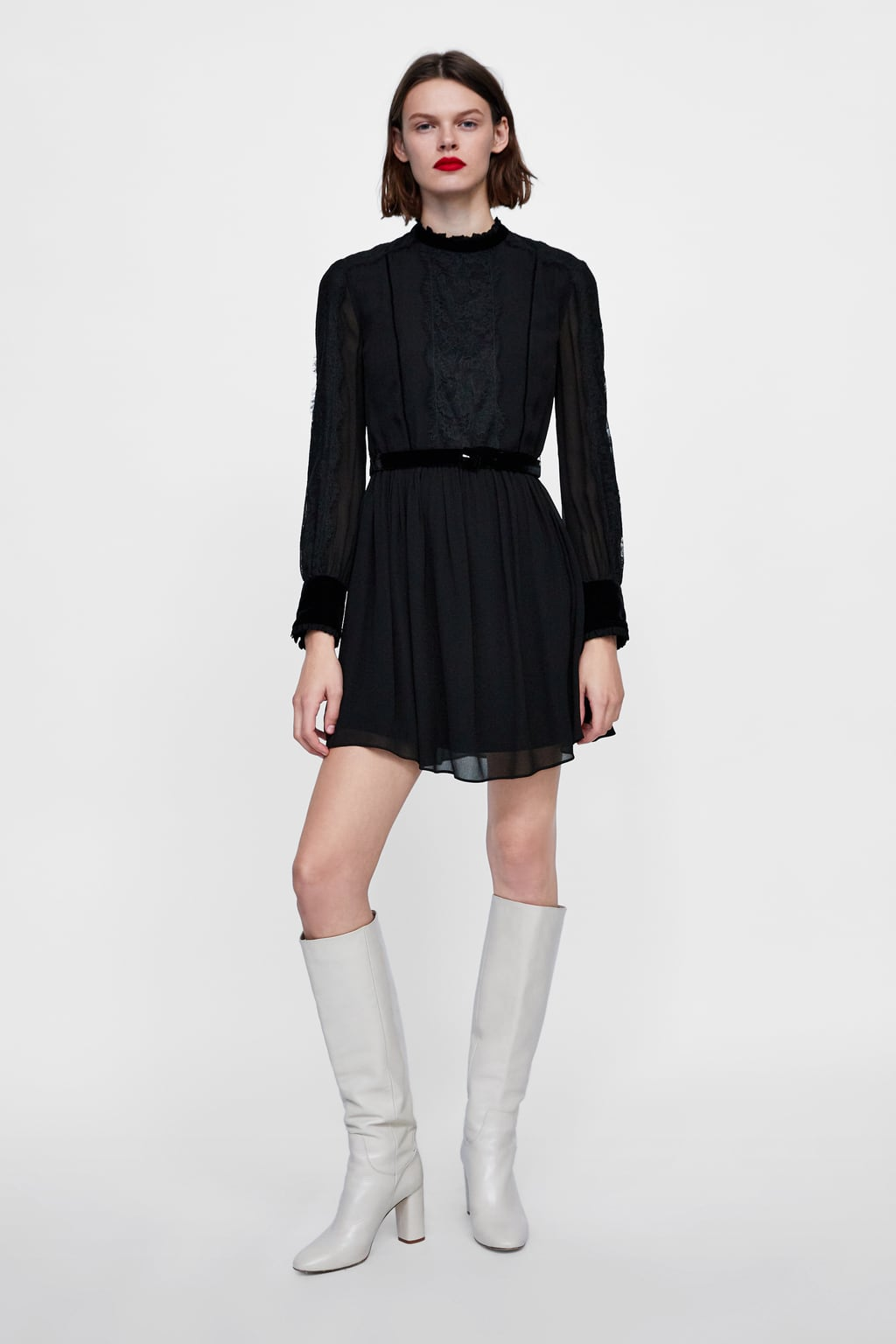 zara black contrasting lace dress