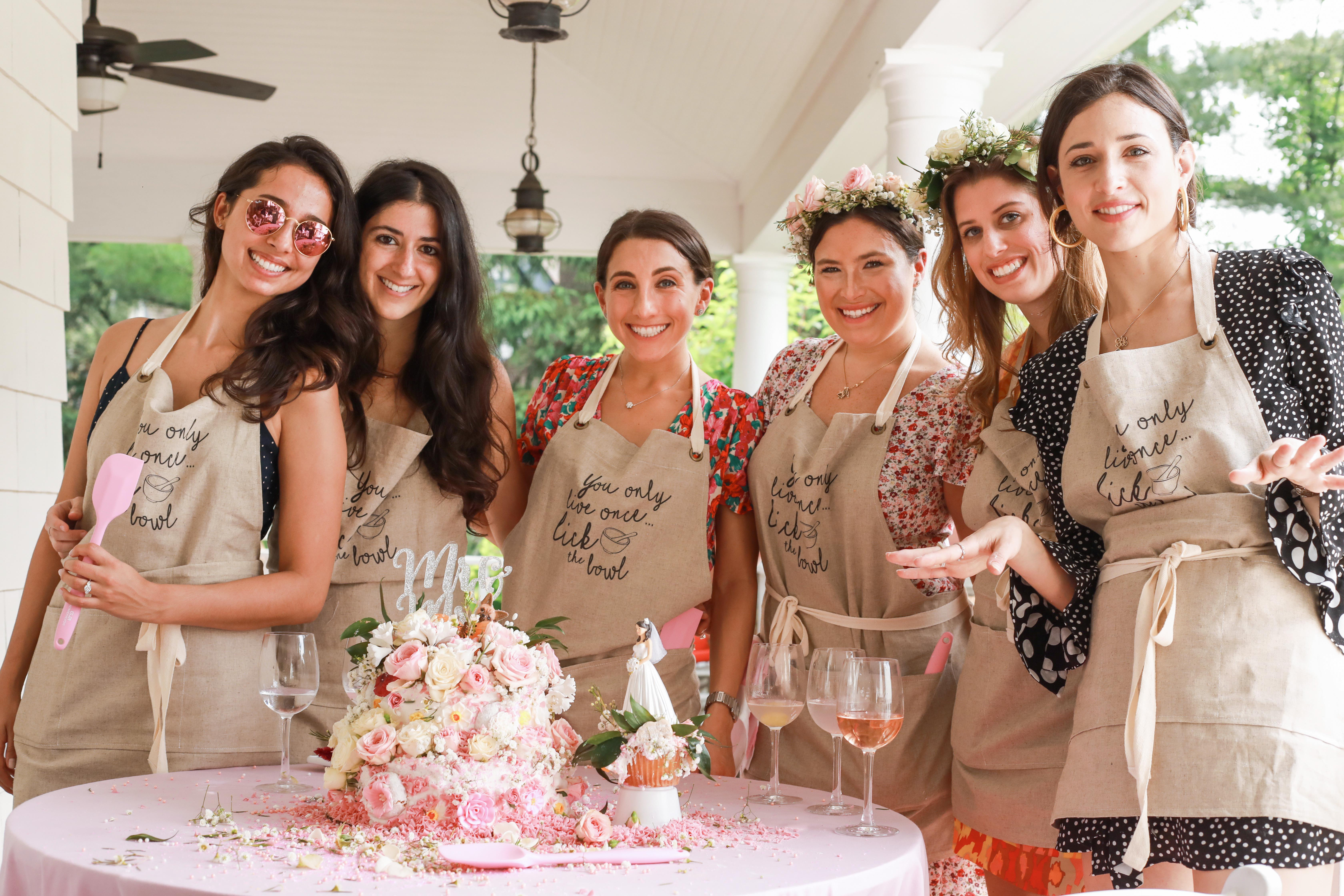 bridal shower game aprons cake on table