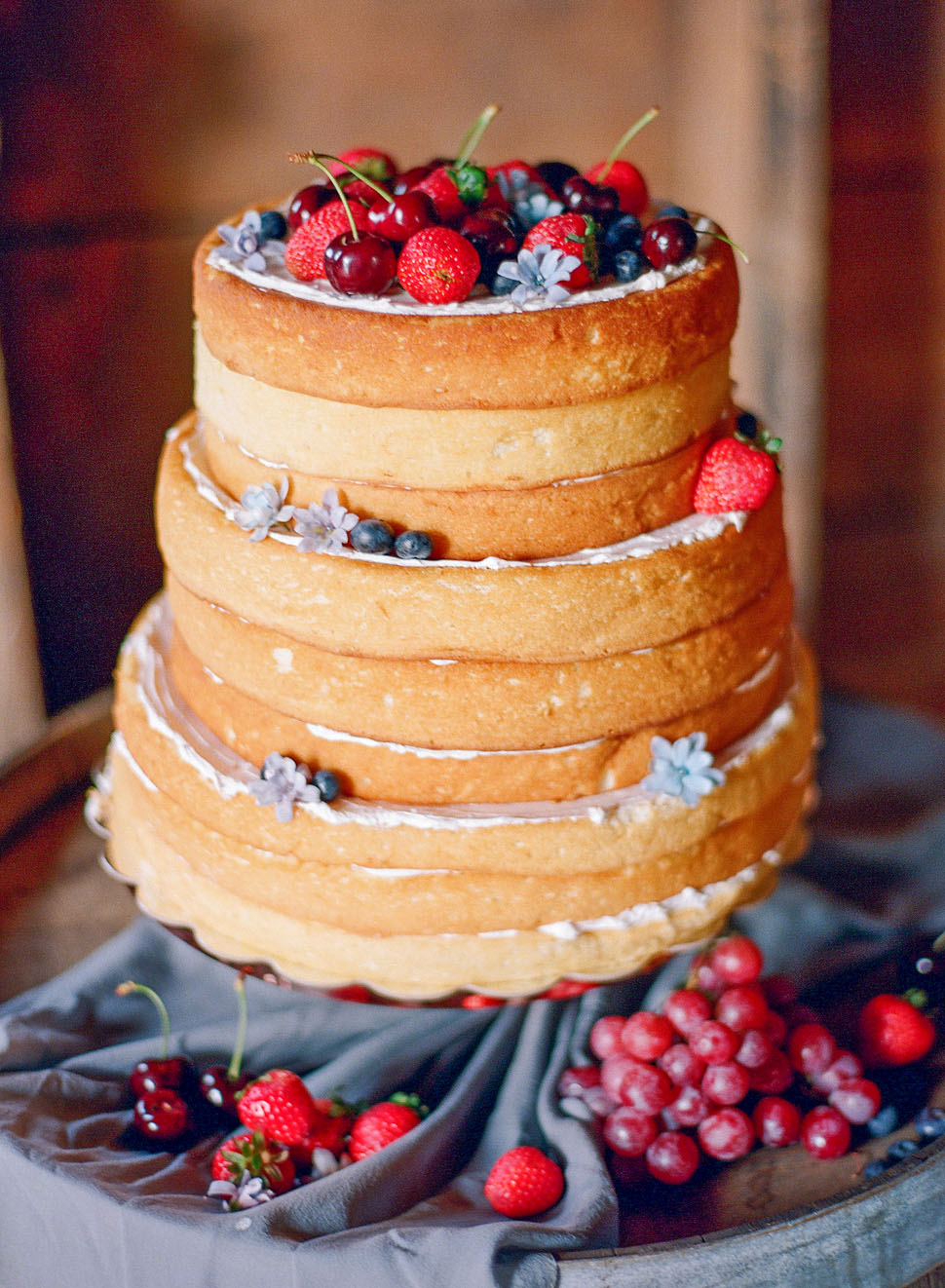A Berry-Topped Naked Cake