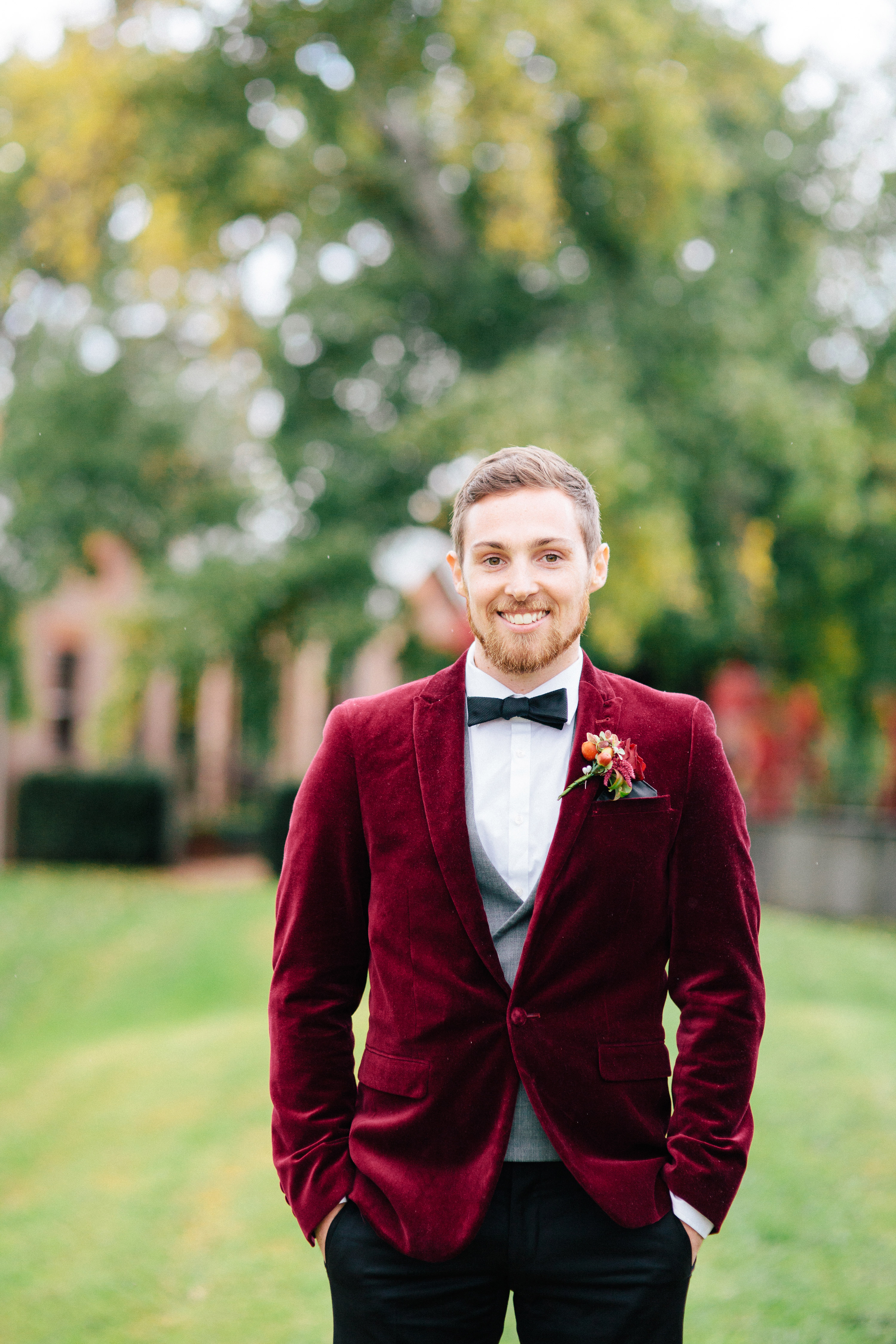 red fall tux