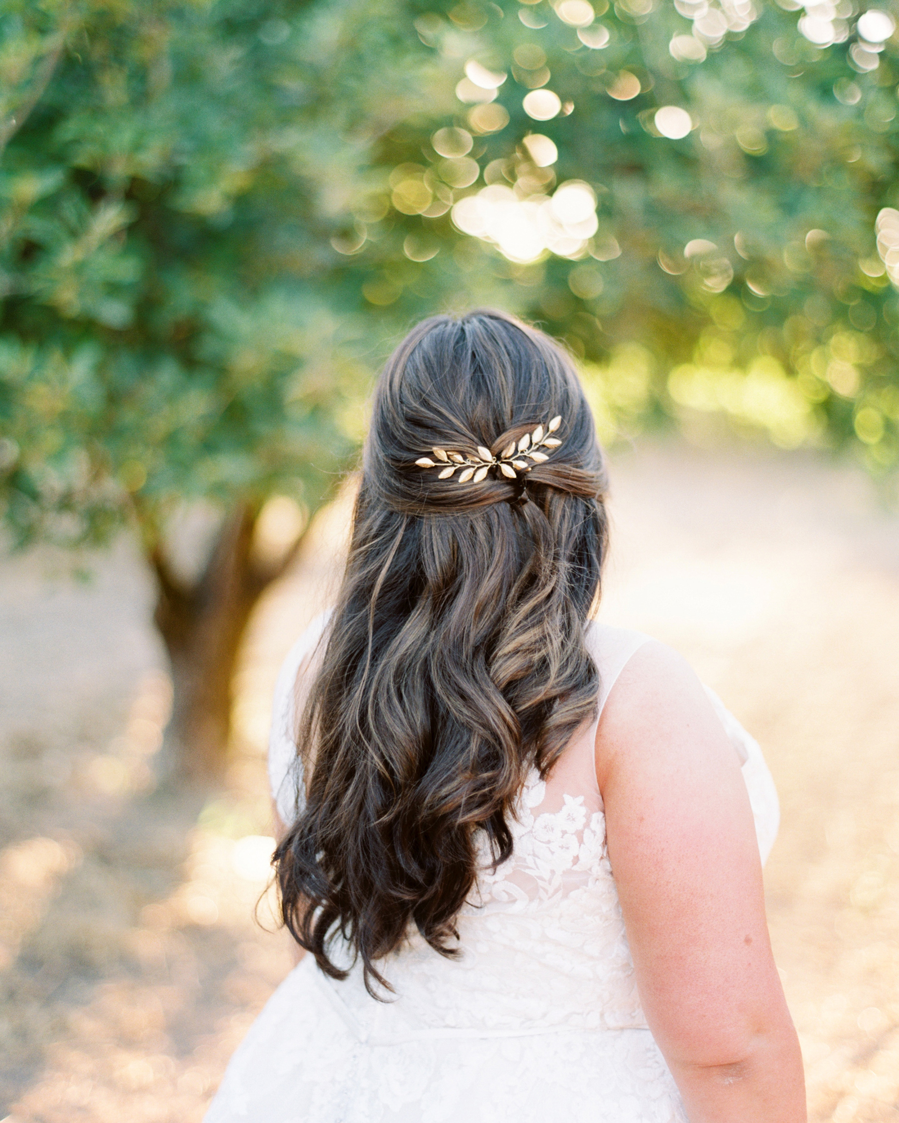 gold leaf hair accessory half-up half-down style