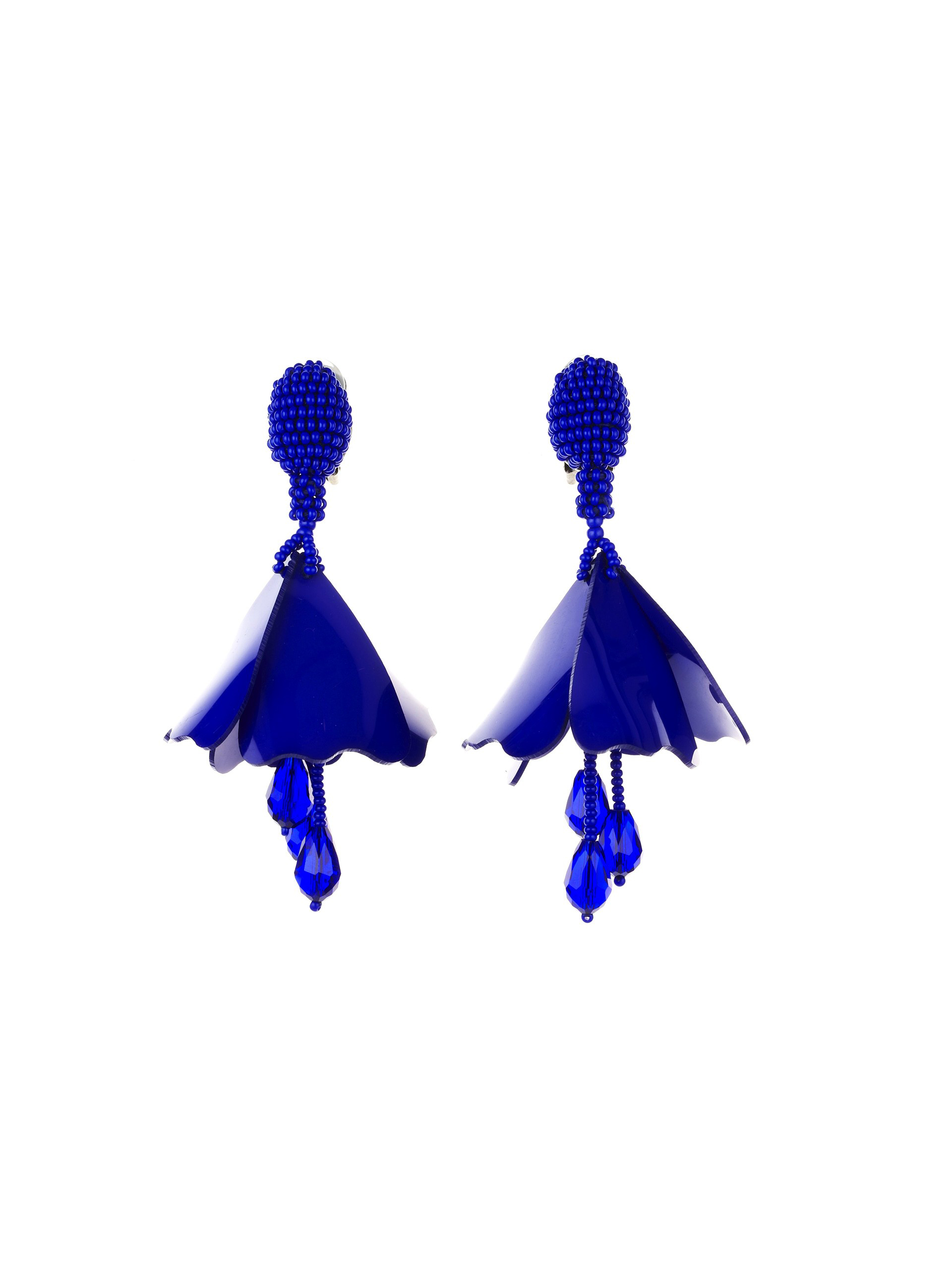 blue flower chandelier earrings