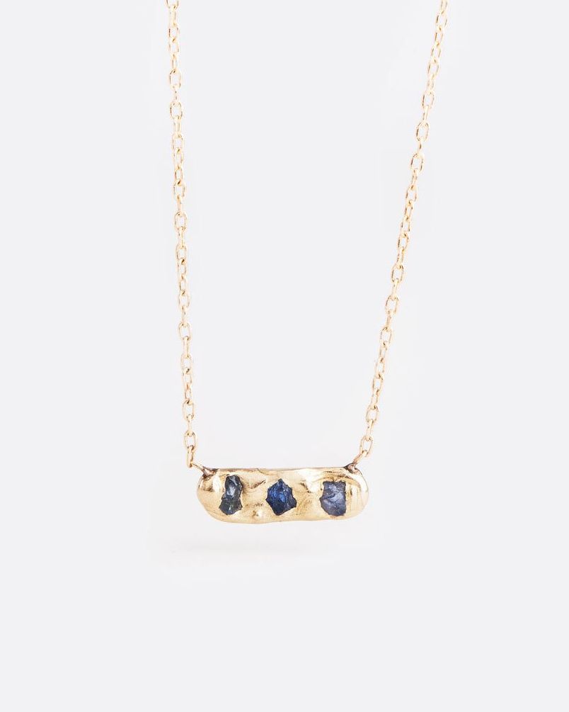 blue gold bar pendant necklace