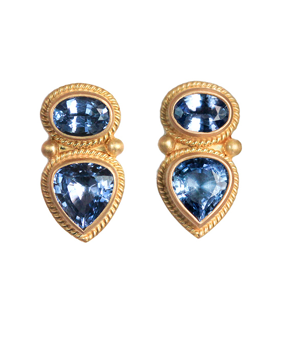 blue gold pendant earrings