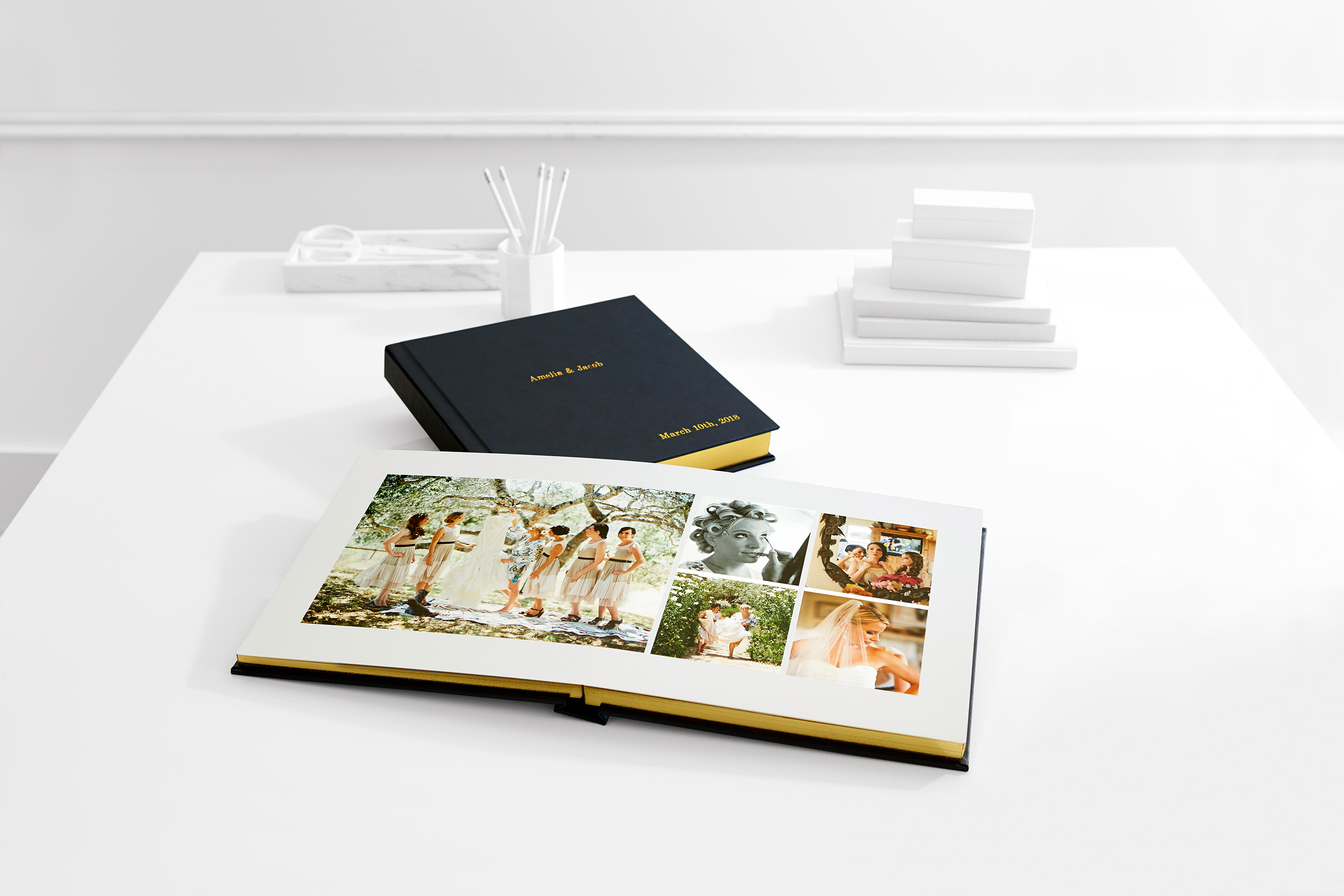wedding photo album book leather cover with metallic accents