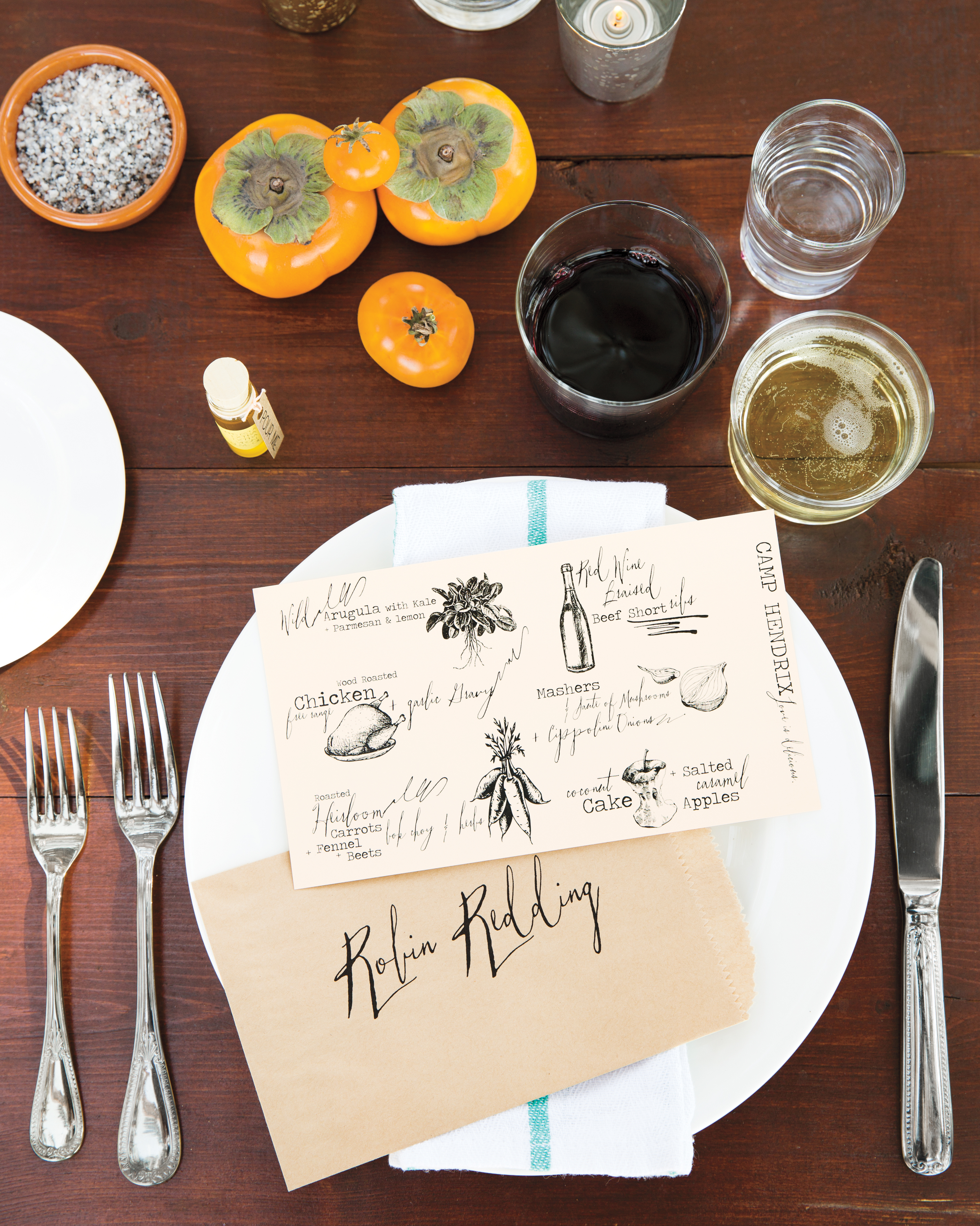 Blue, Orange, and Marble Table Setting