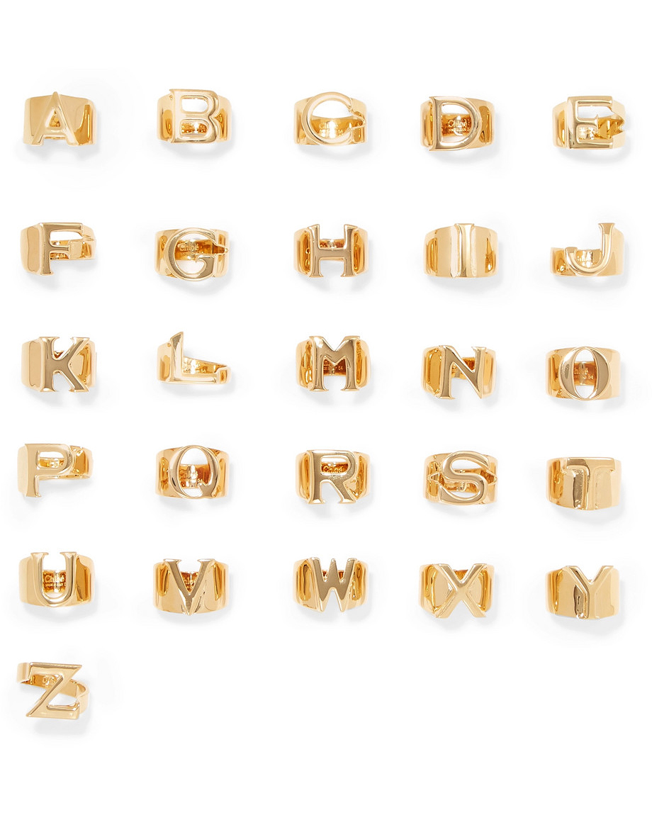 personalized bridesmaids jewelry gift alphabet ring