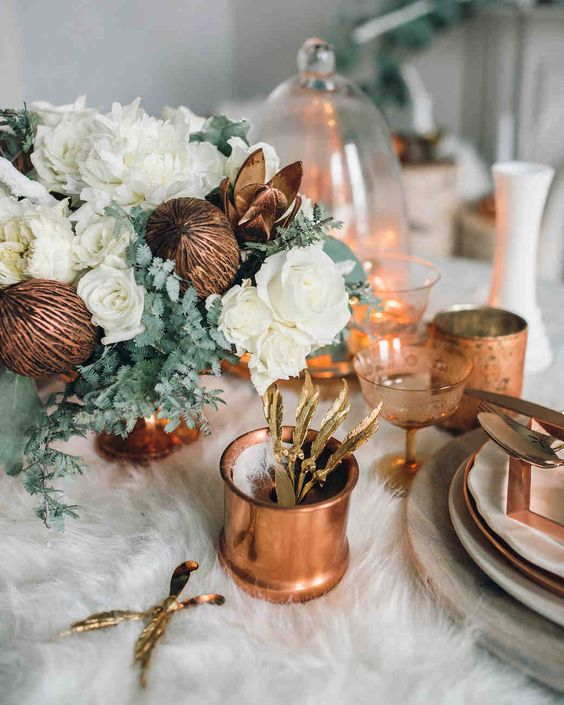 winter bridal shower copper table setting details