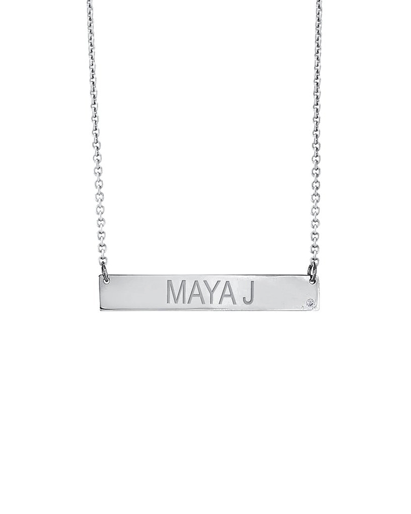 personalized bridesmaids jewelry gift silver nameplate necklace
