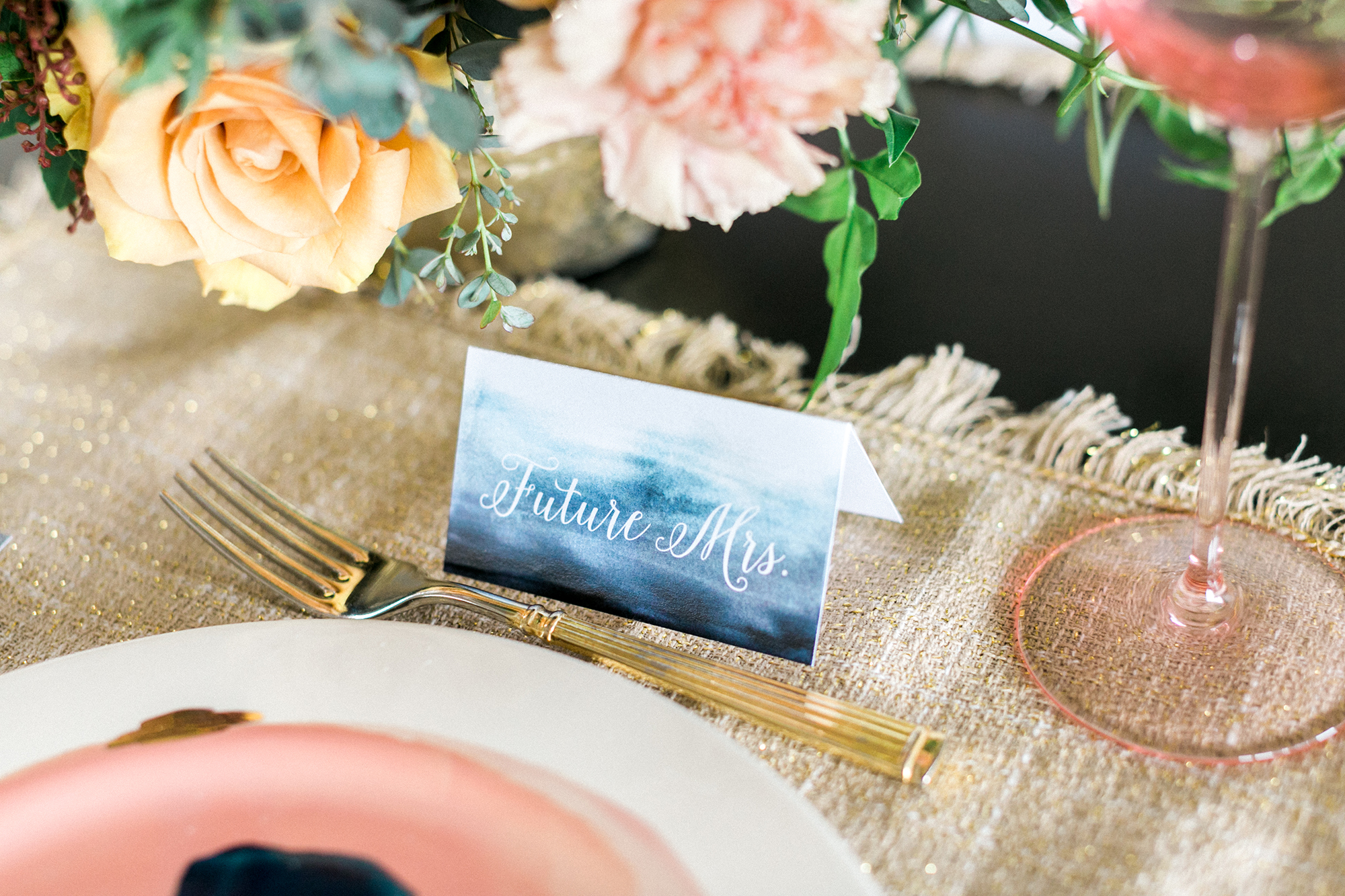 winter bridal shower place cards