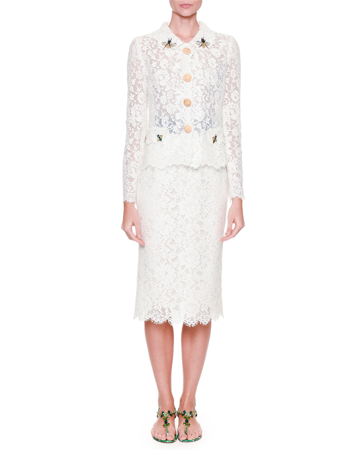 Dolce & Gabbana Lace Jacket with Bee Embroidery