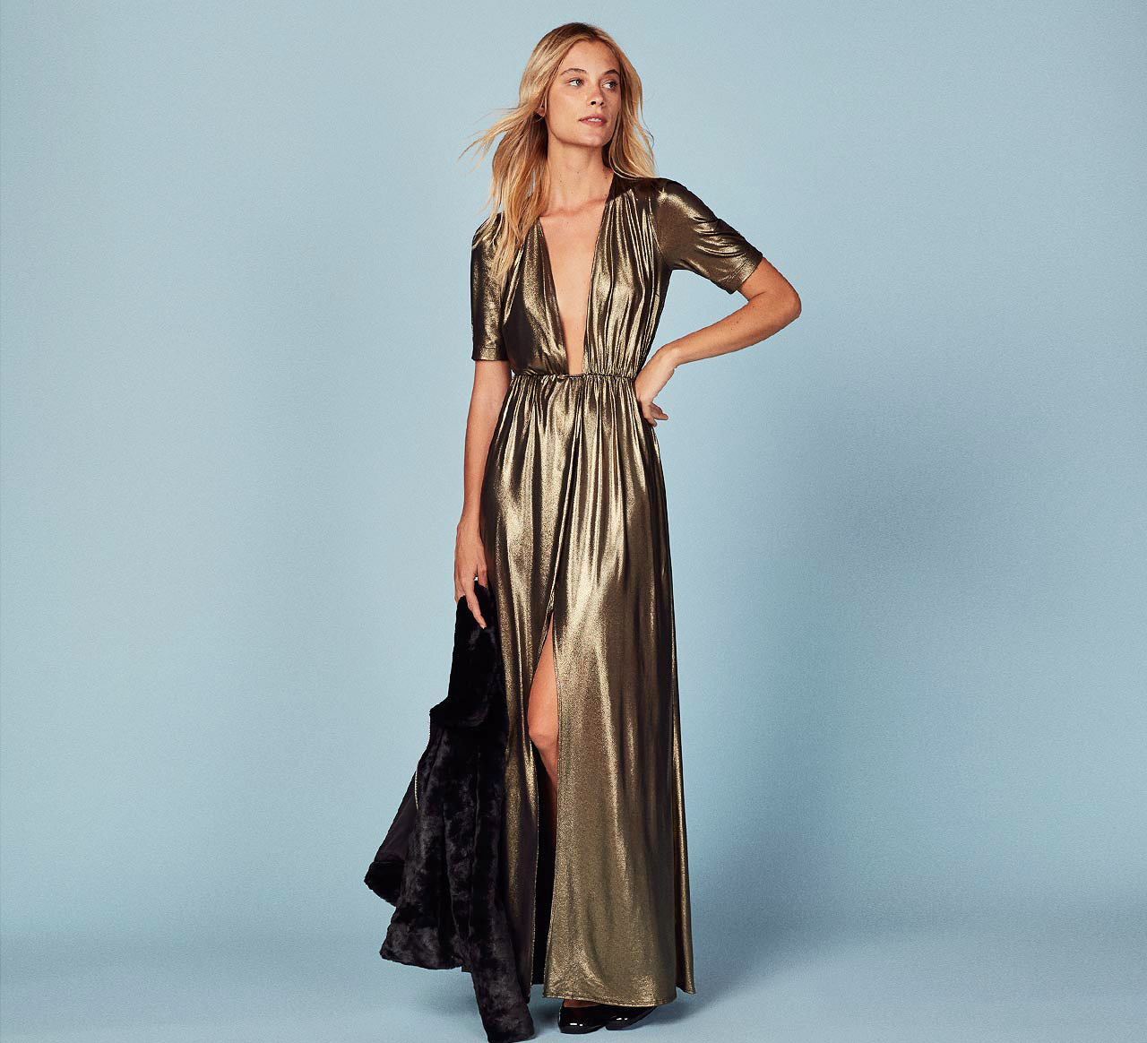 engagement holiday dress the reformation full length metallic