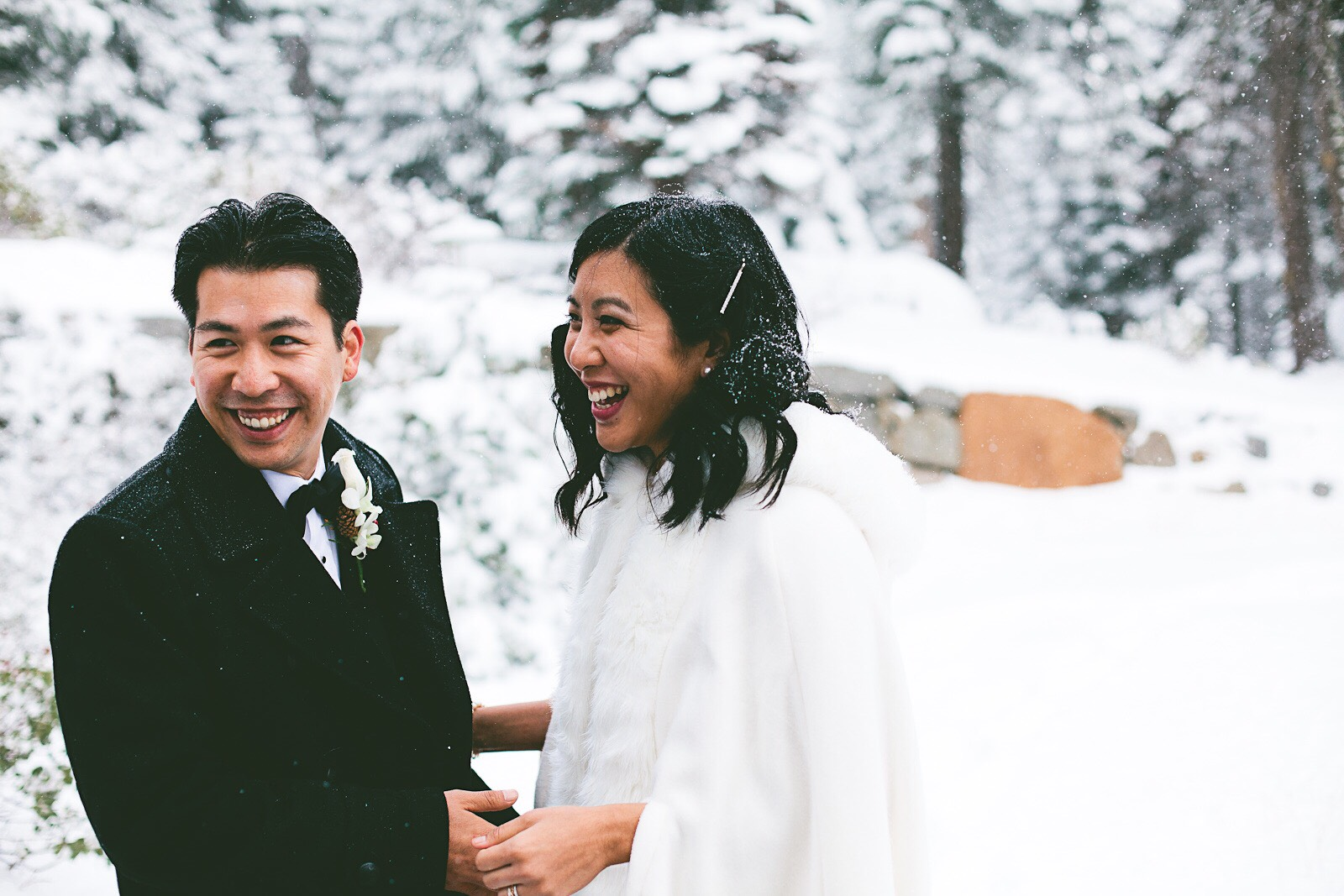 Snowy Wedding Photo with Bride and Groom