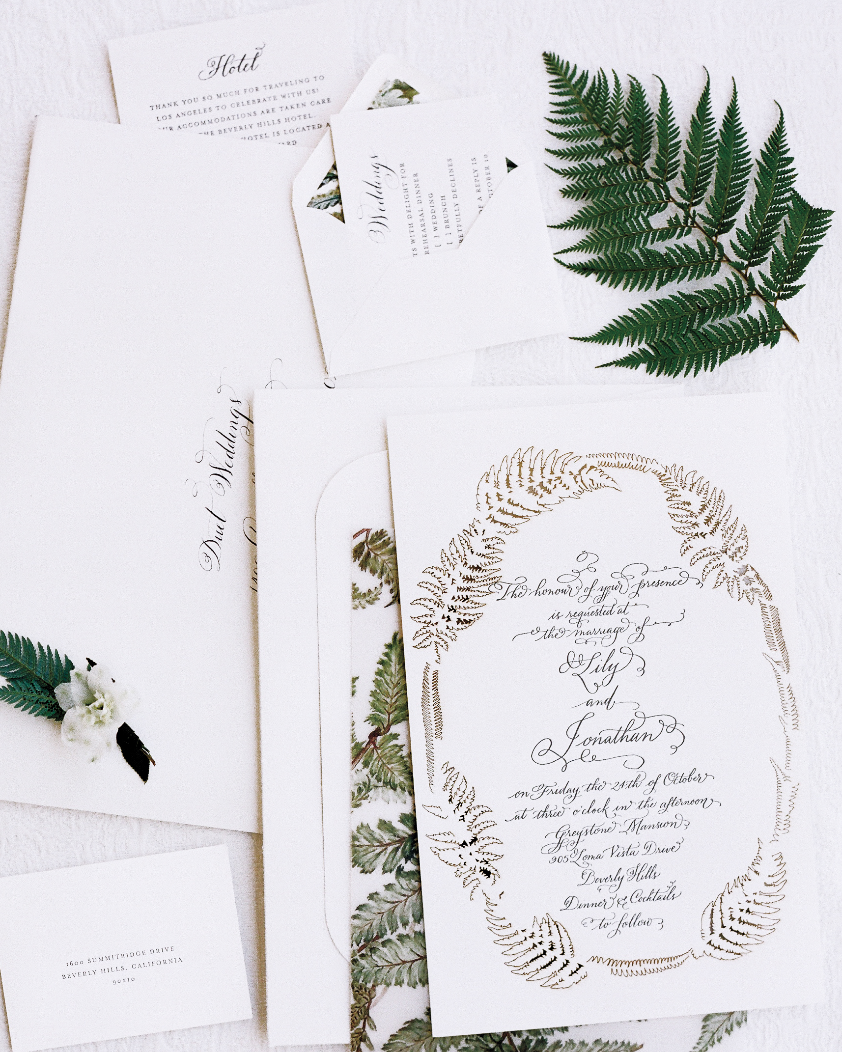 invitations with fern border