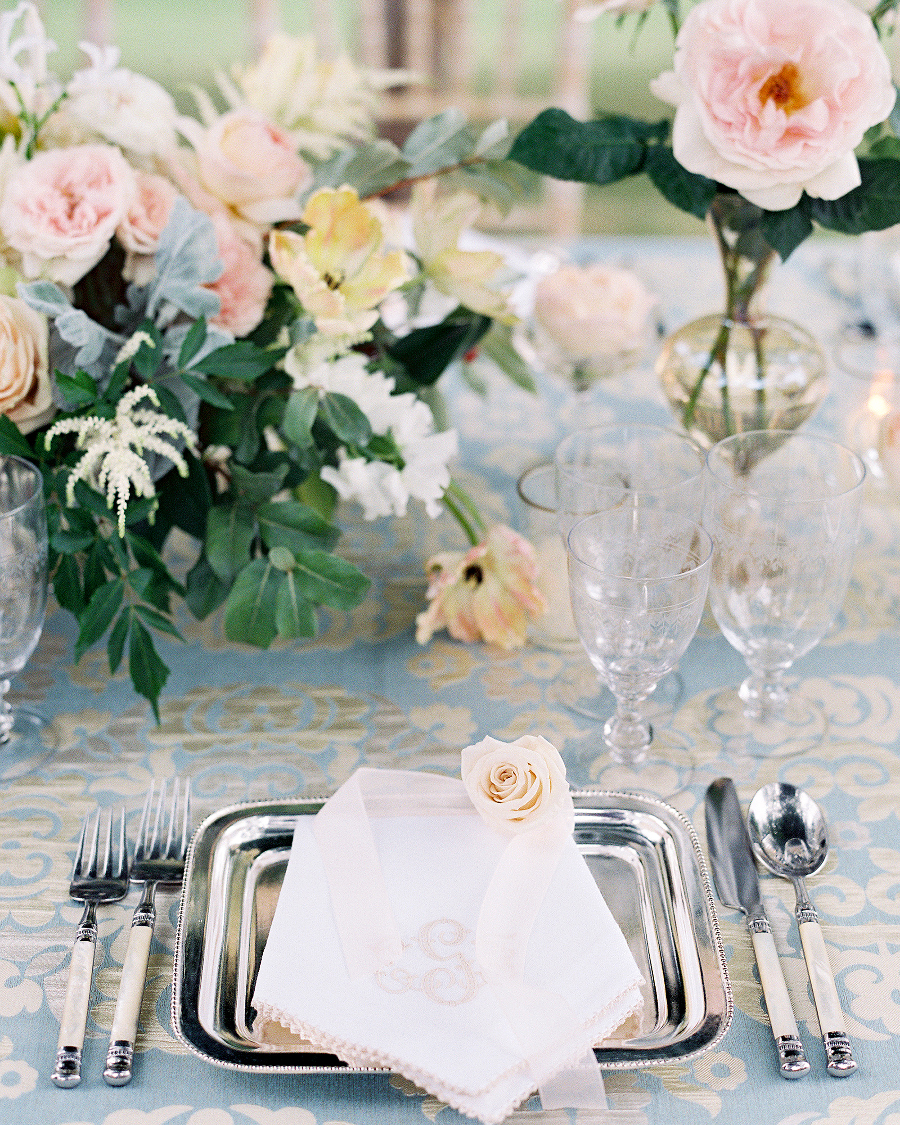 metallic wedding place setting silver plates