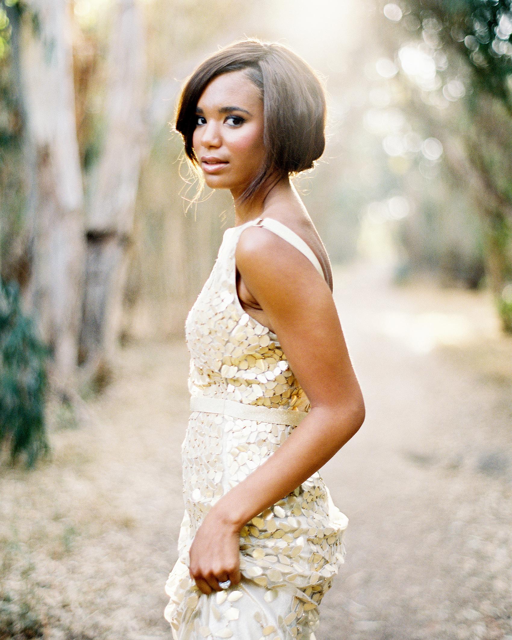 metallic gold wedding dress on bride