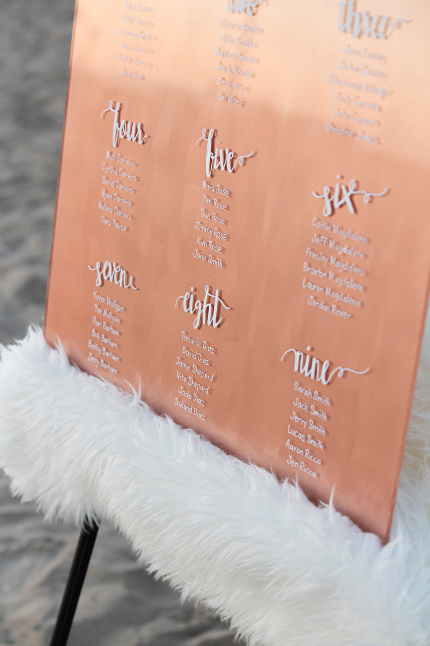 rose gold wedding ideas seating chart