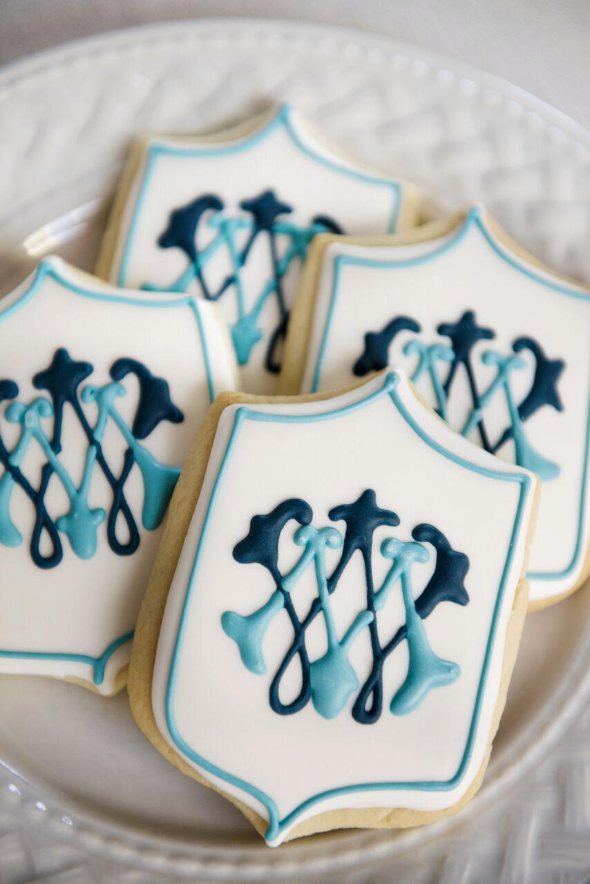 monogram blue white cookies