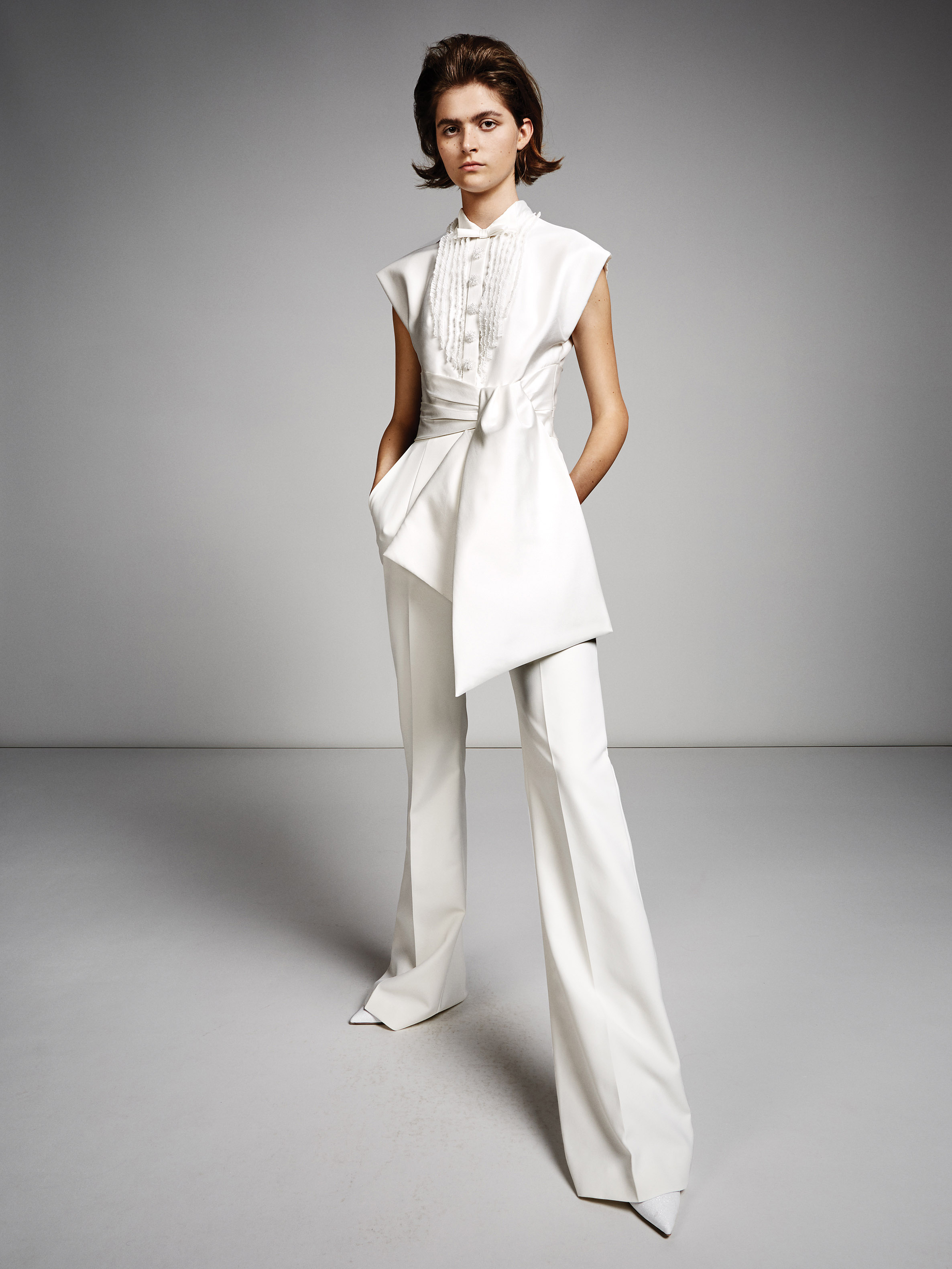 viktor rolf marriage fall 2019 flared pants with belted button down short sleeve top