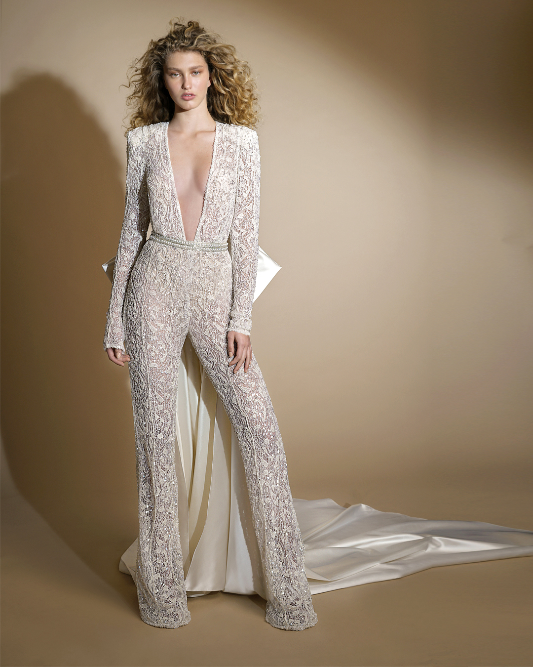 galia lahav gala wedding dress spring 2019 lace pant suit satin bow train