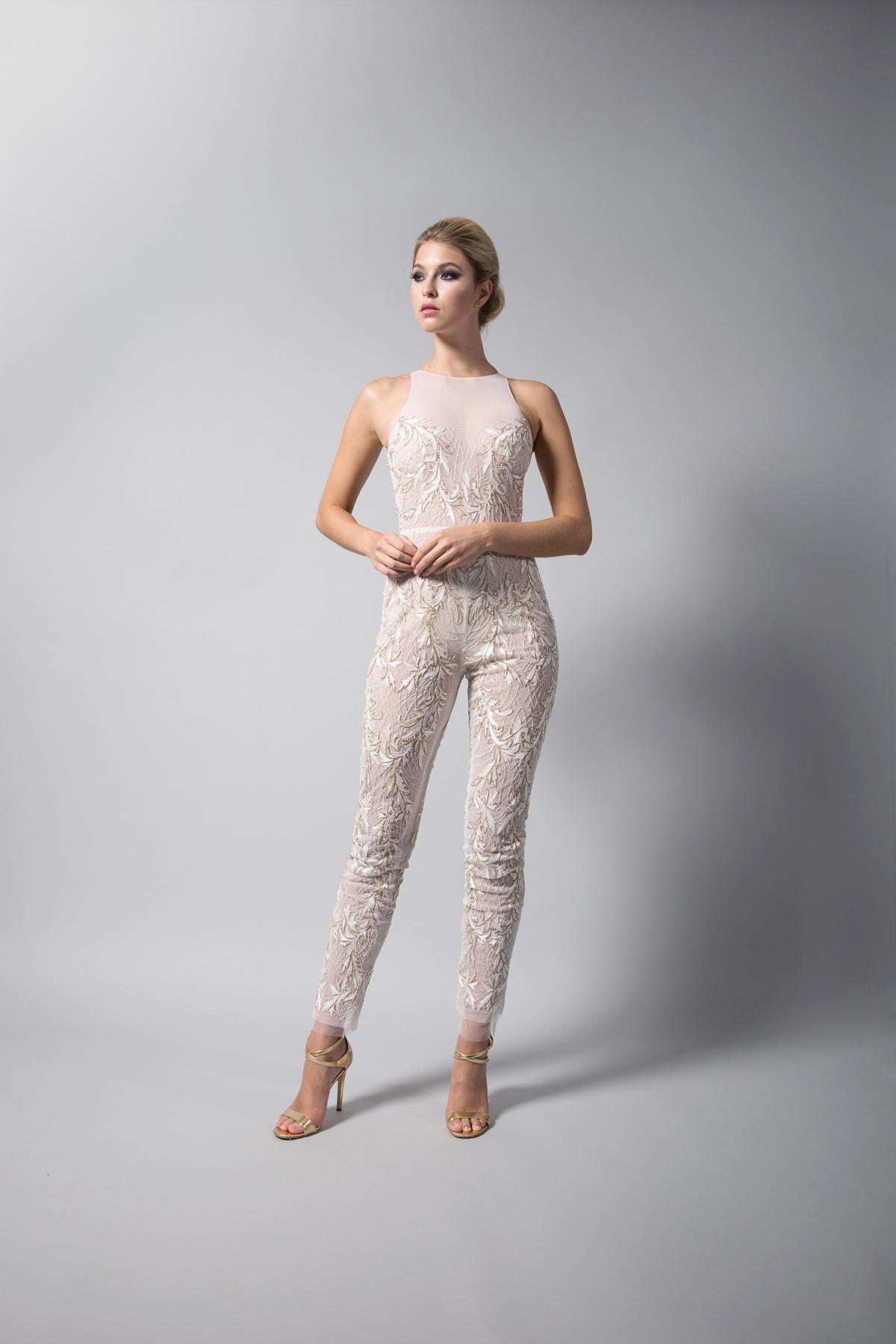 randi rahm high neck pantsuit fall 2018