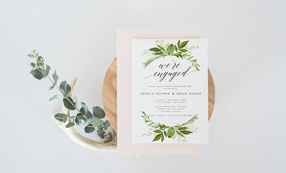 Wishful Paperie Greenery Engagement Party Invitation