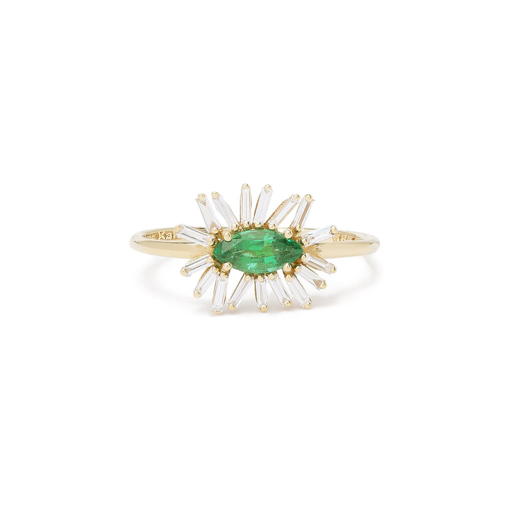 east west engagement rings emerald and diamond flower