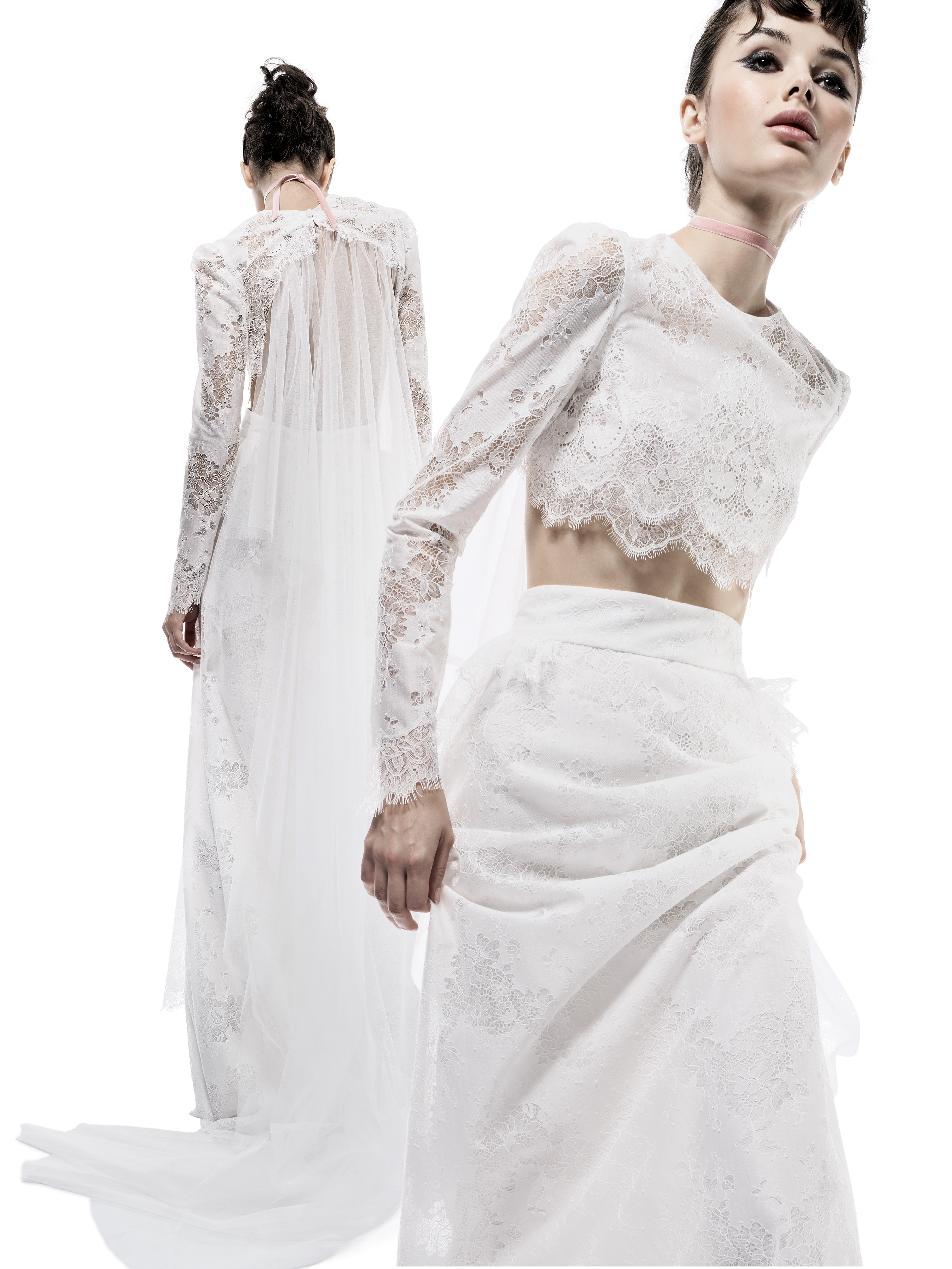 elizabeth fillmore wedding dress fall 2018 two piece lace long sleeves cape