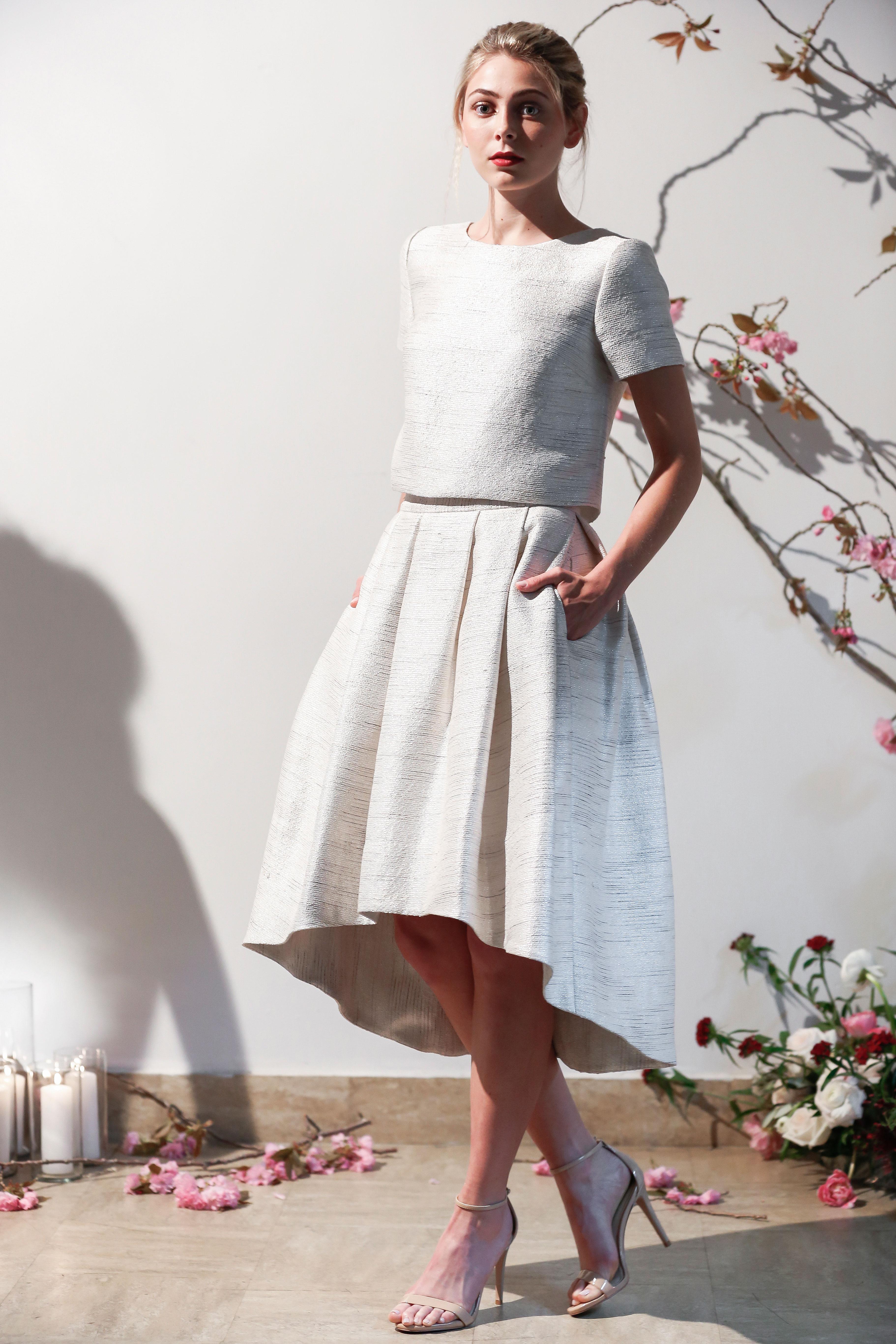 Mason Hosker sleeved short wedding dress spring 2018