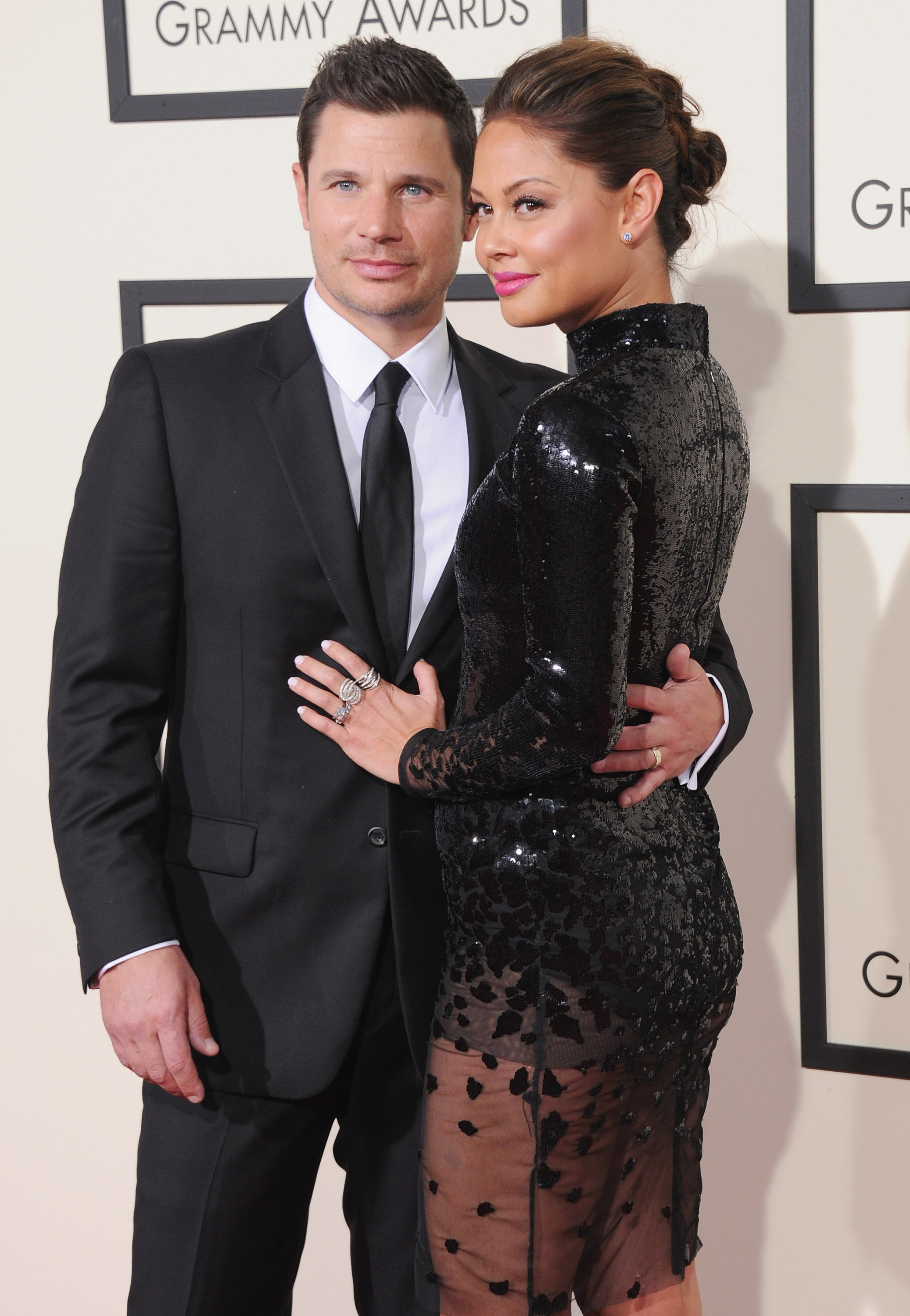 celebrity couple nick vanessa black formal attire